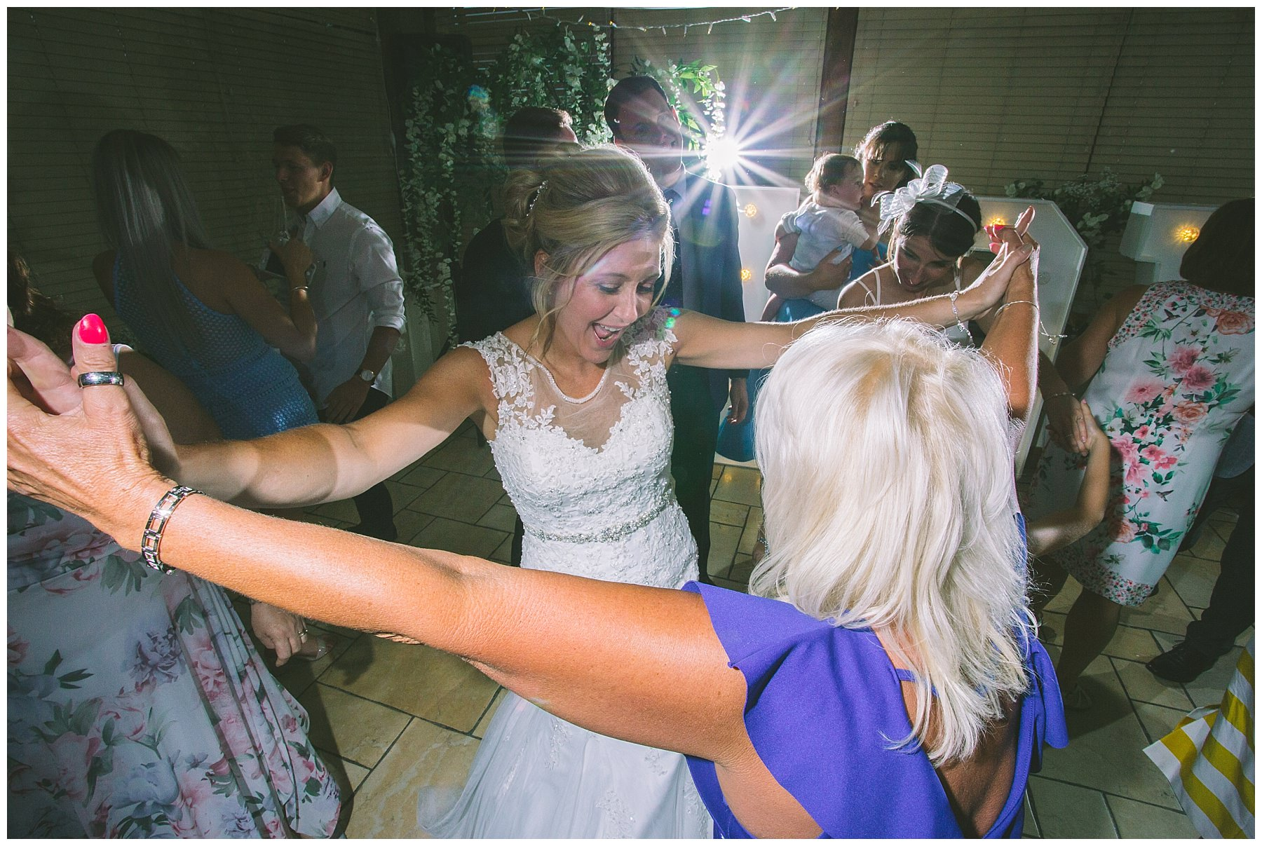 bride parties with friends at beeston manor