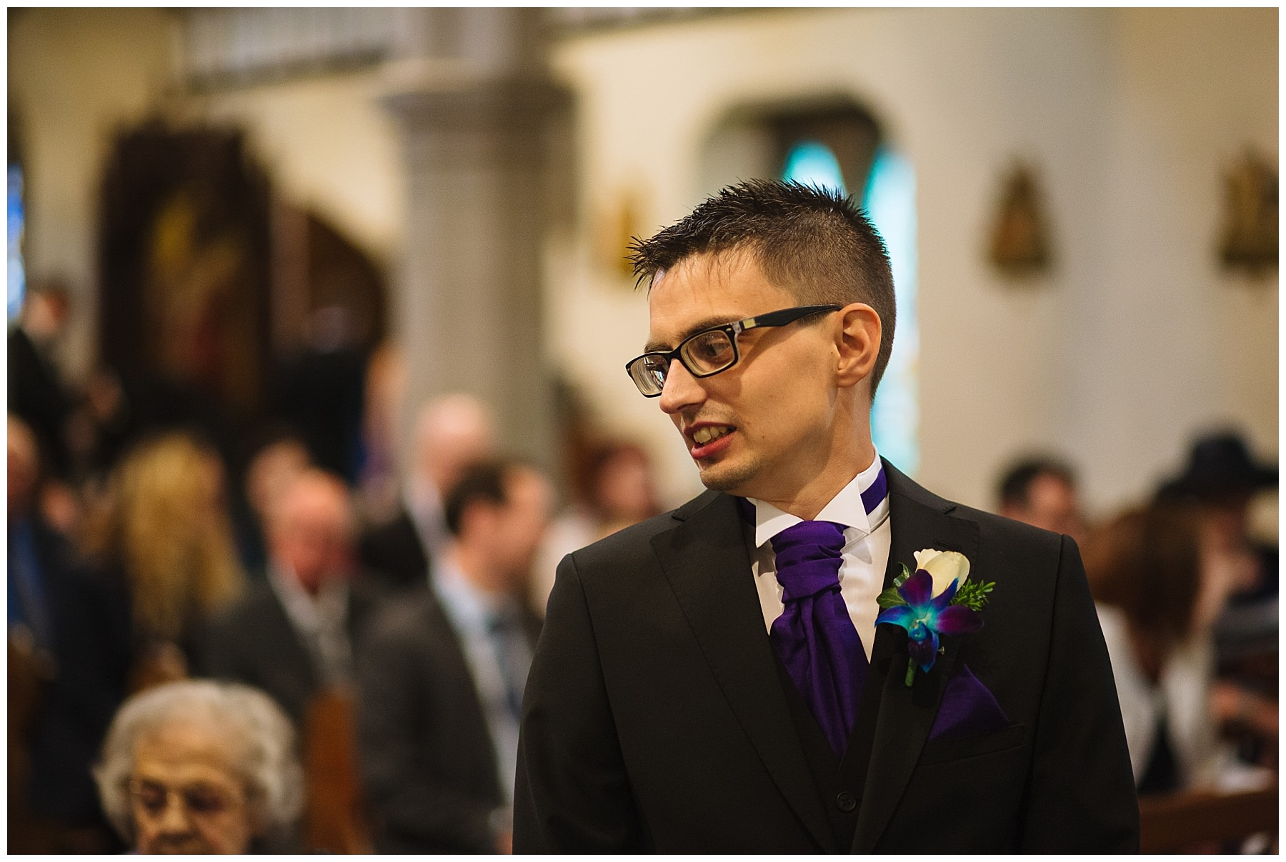 Groom waits nervously in church