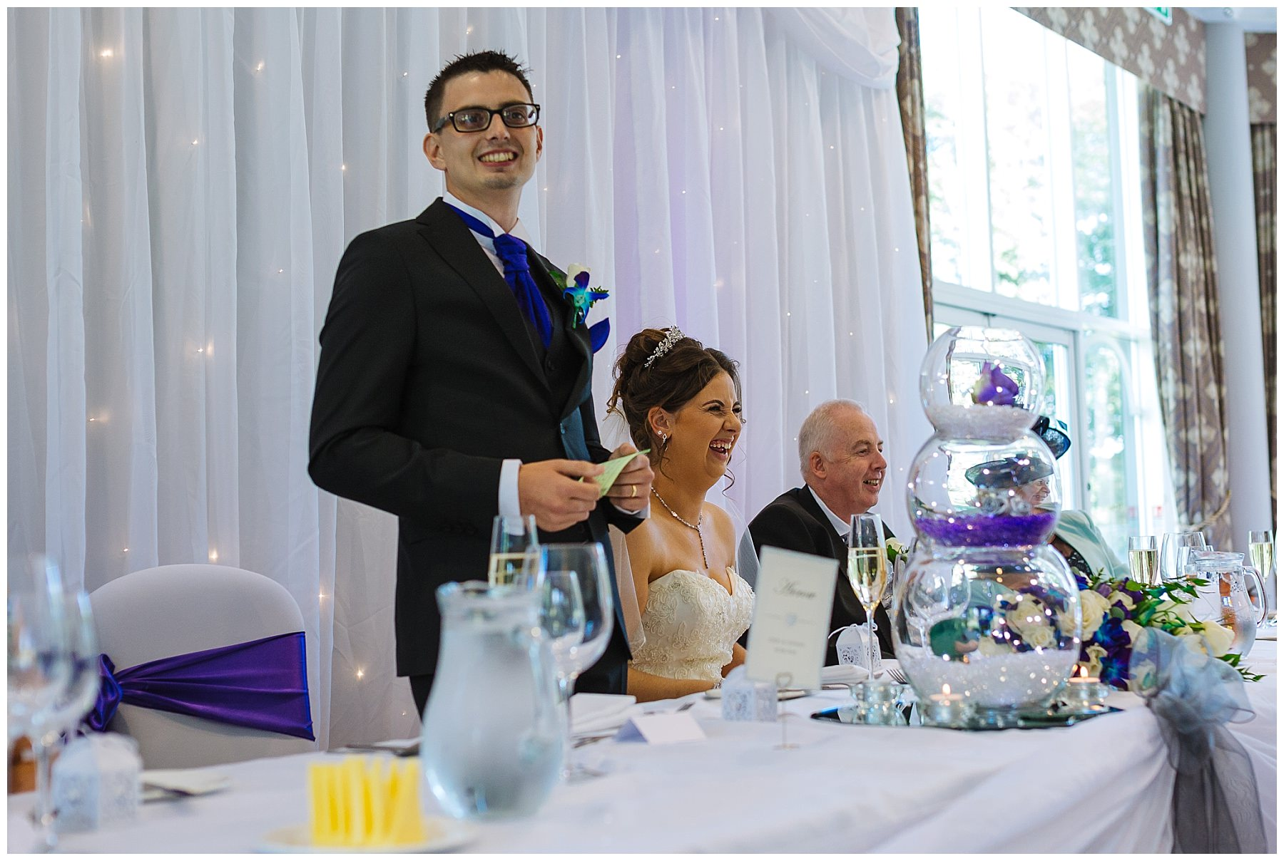 groom address guests during wedding speech