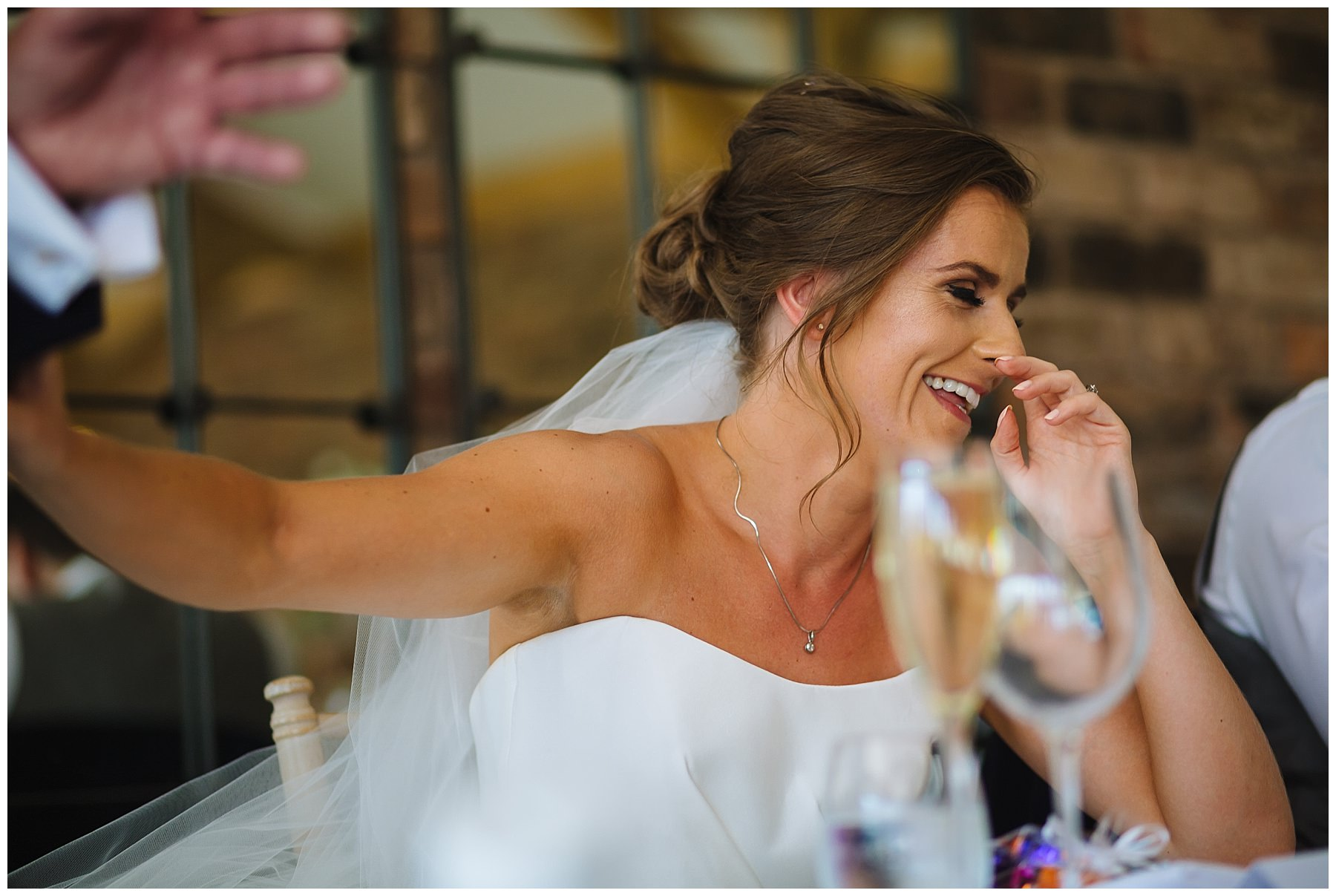 Bride laughs at fathers speech at pryors hayes wedding venue
