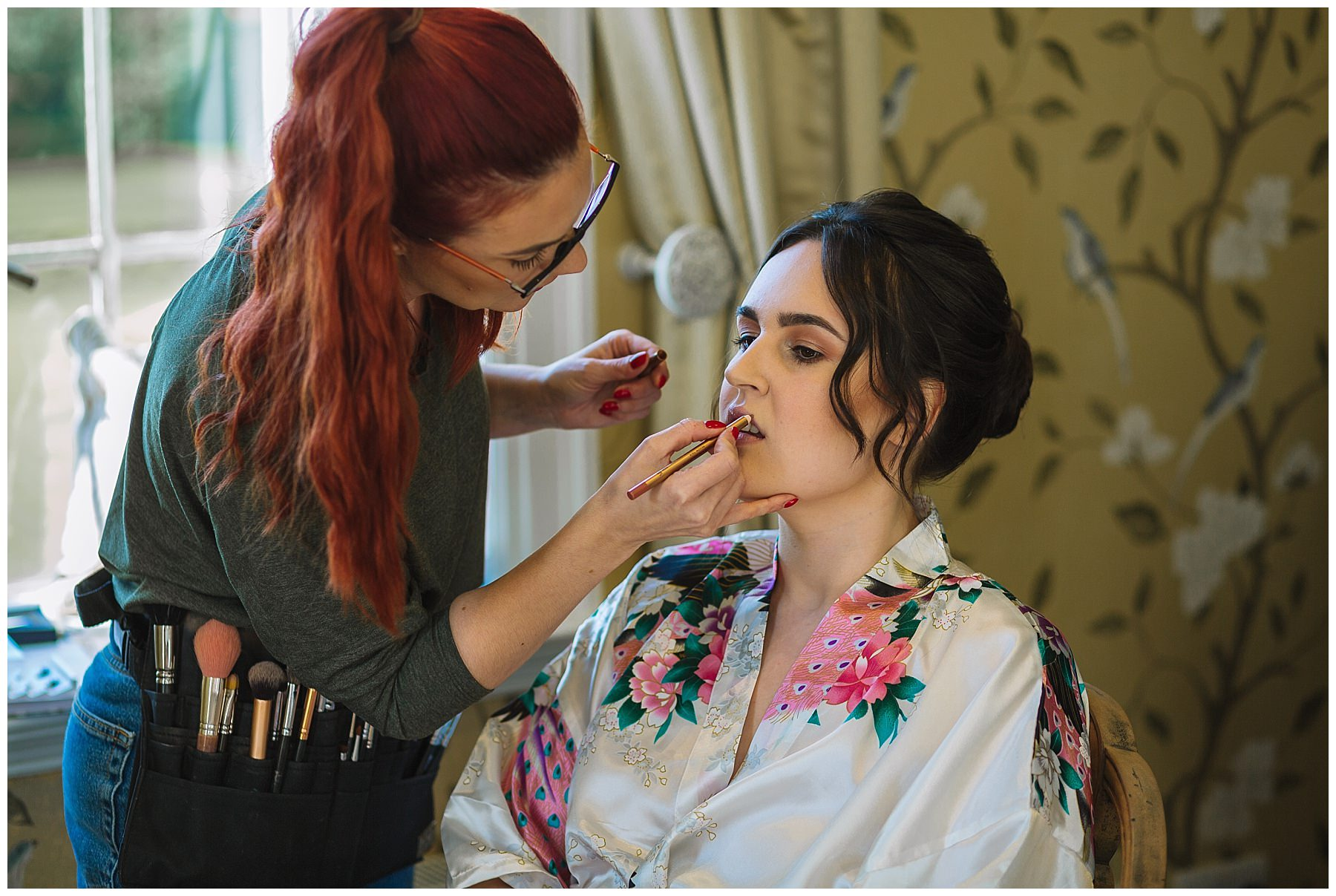Helen Cafferky Make Up during Bridal Prep at Eaves Hall