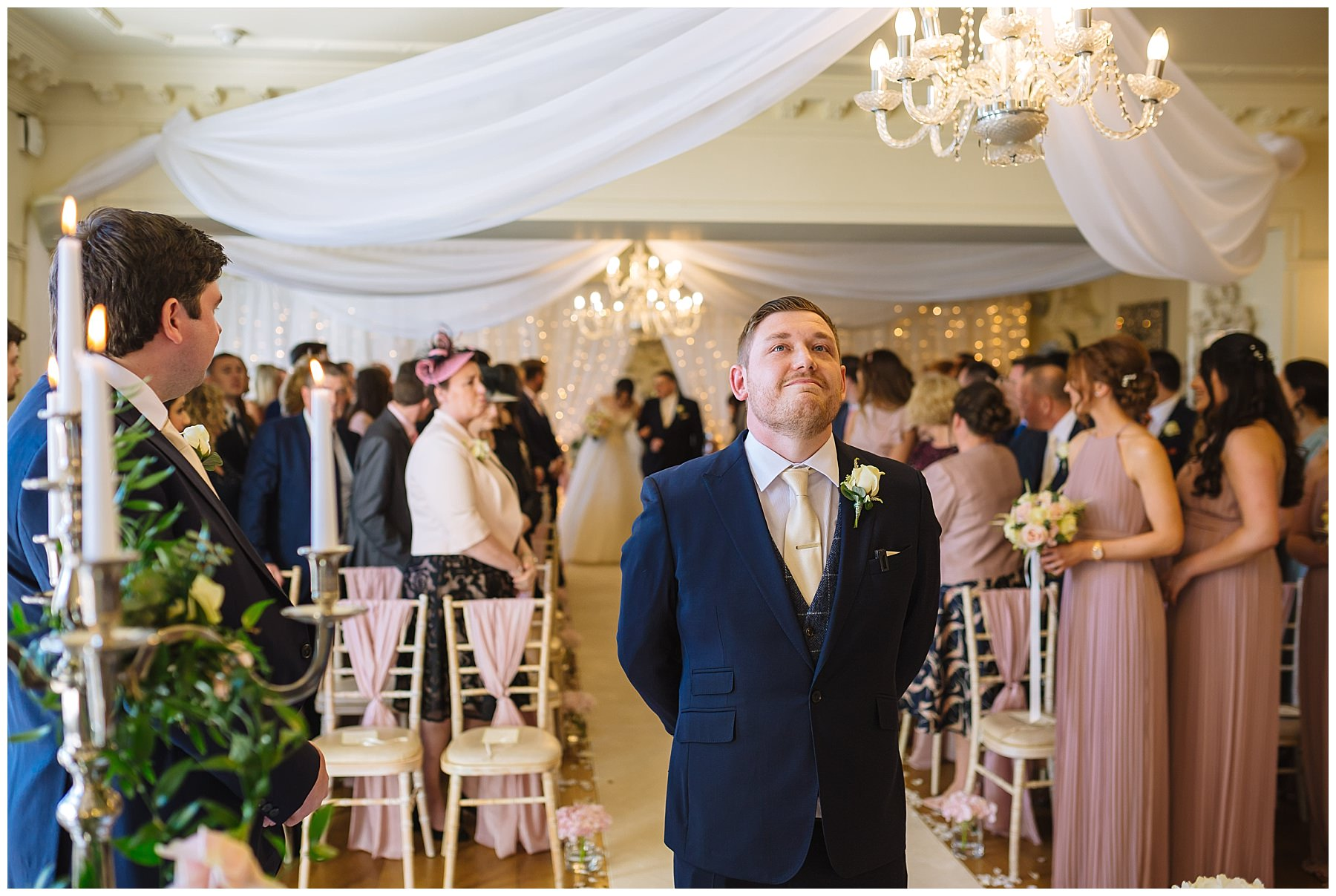 Emotional groom waits for brides arrival