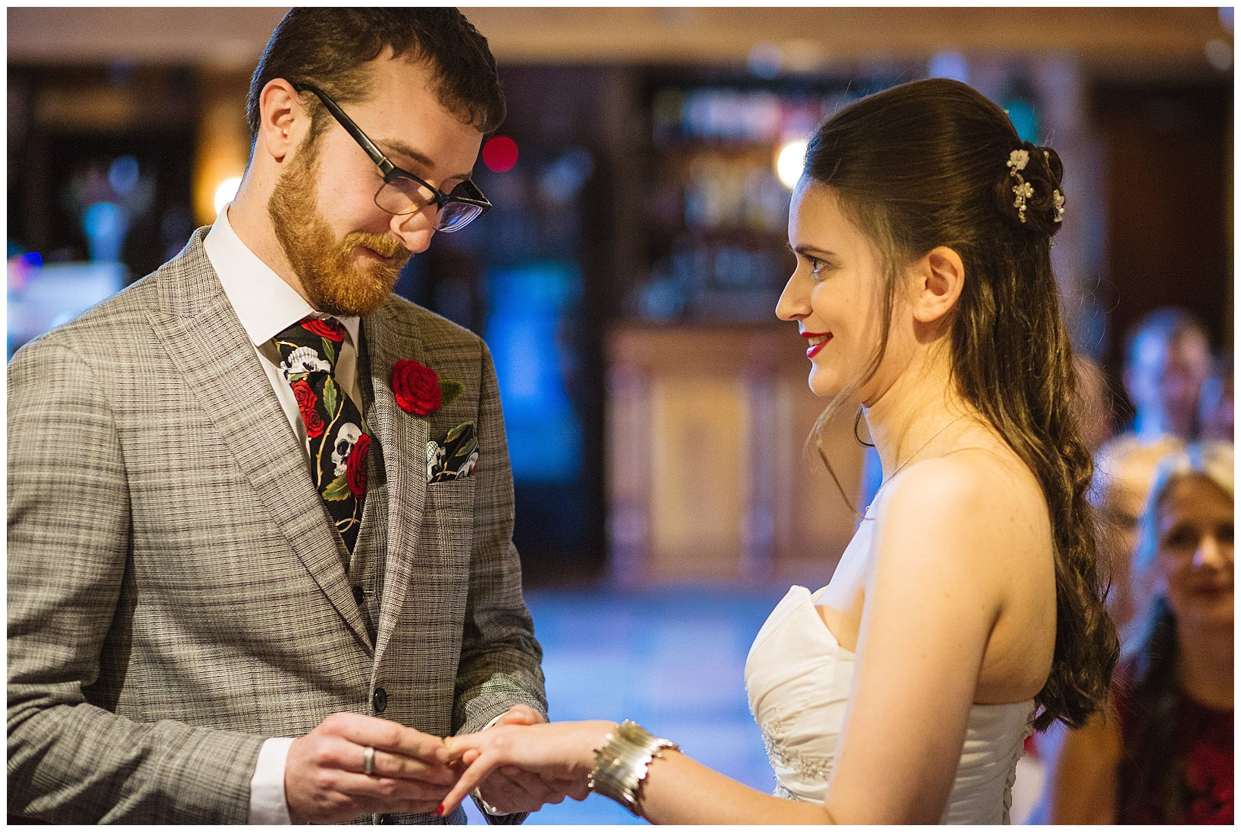 Wedding ring exchange at the hundred house hotel
