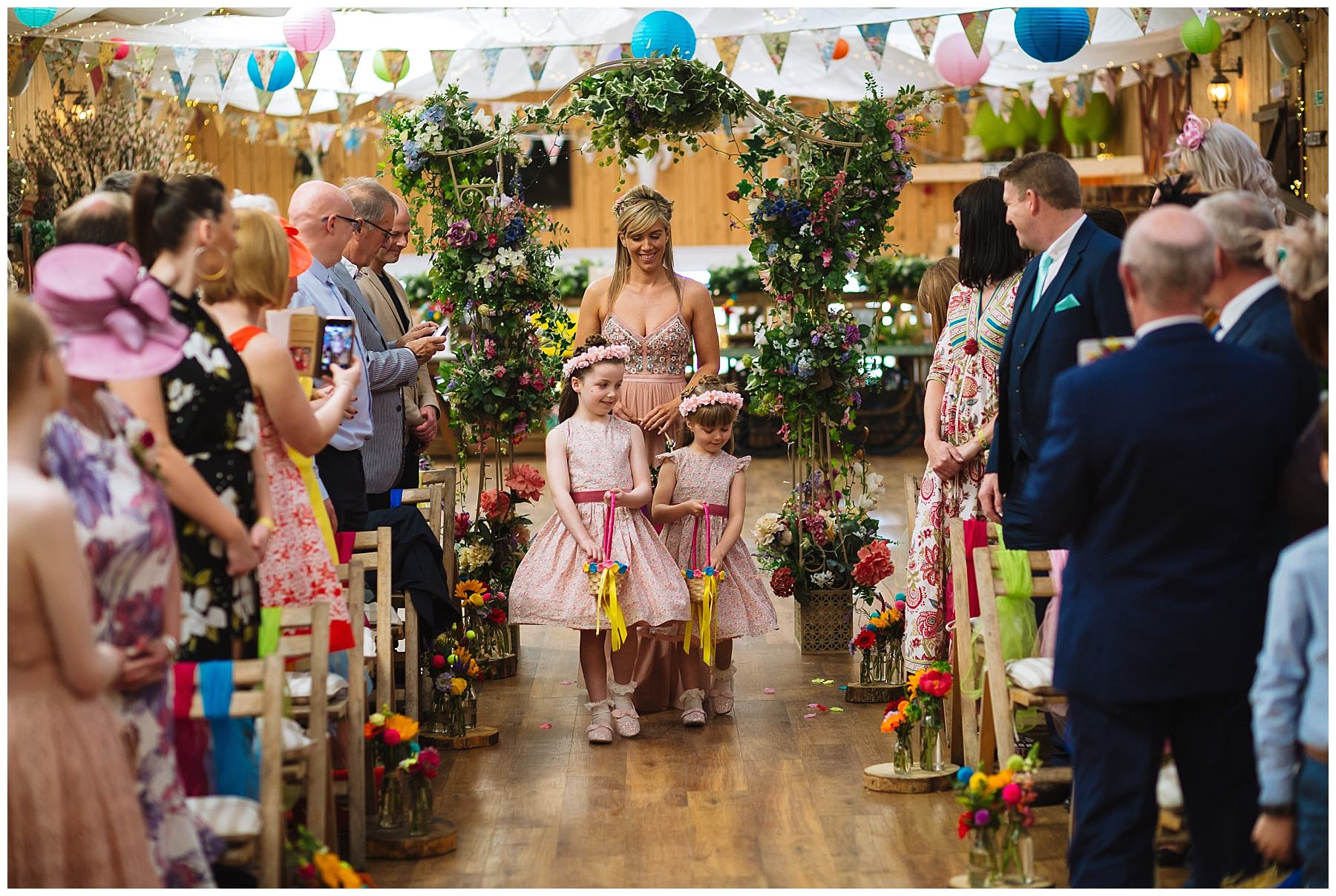 flowergirls and bridesmaid arrive at the wellbeing farm