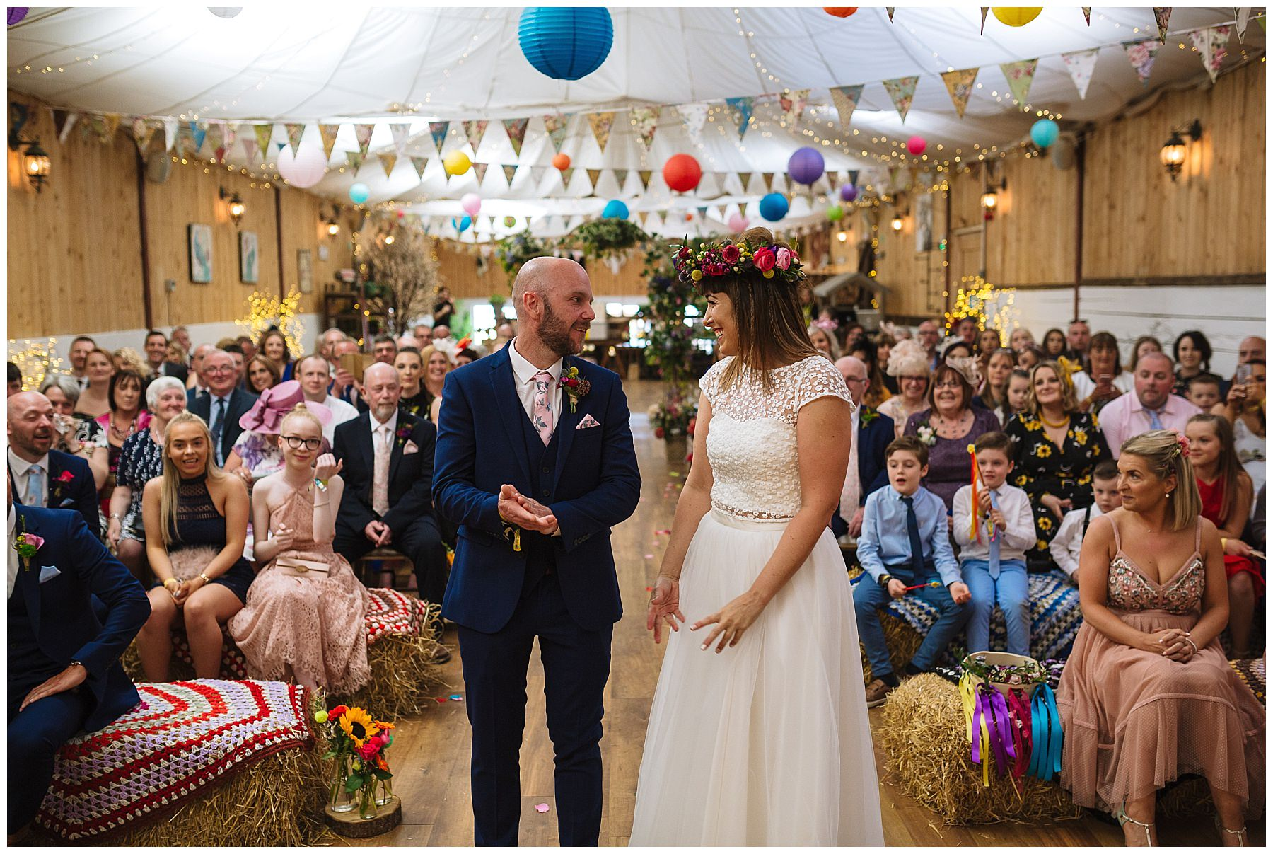 bride and grooms first look at the wellbeing farm