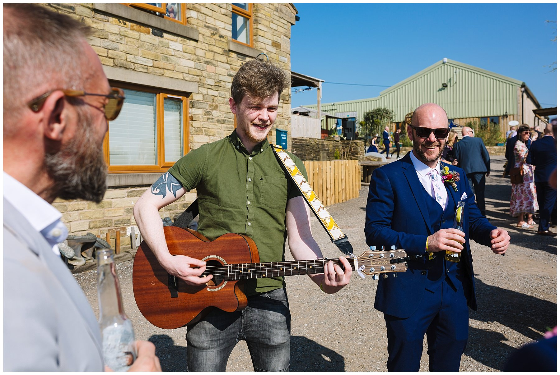 Hit The Dance Floor entertain guests during drinks reception at the wellbeing farm