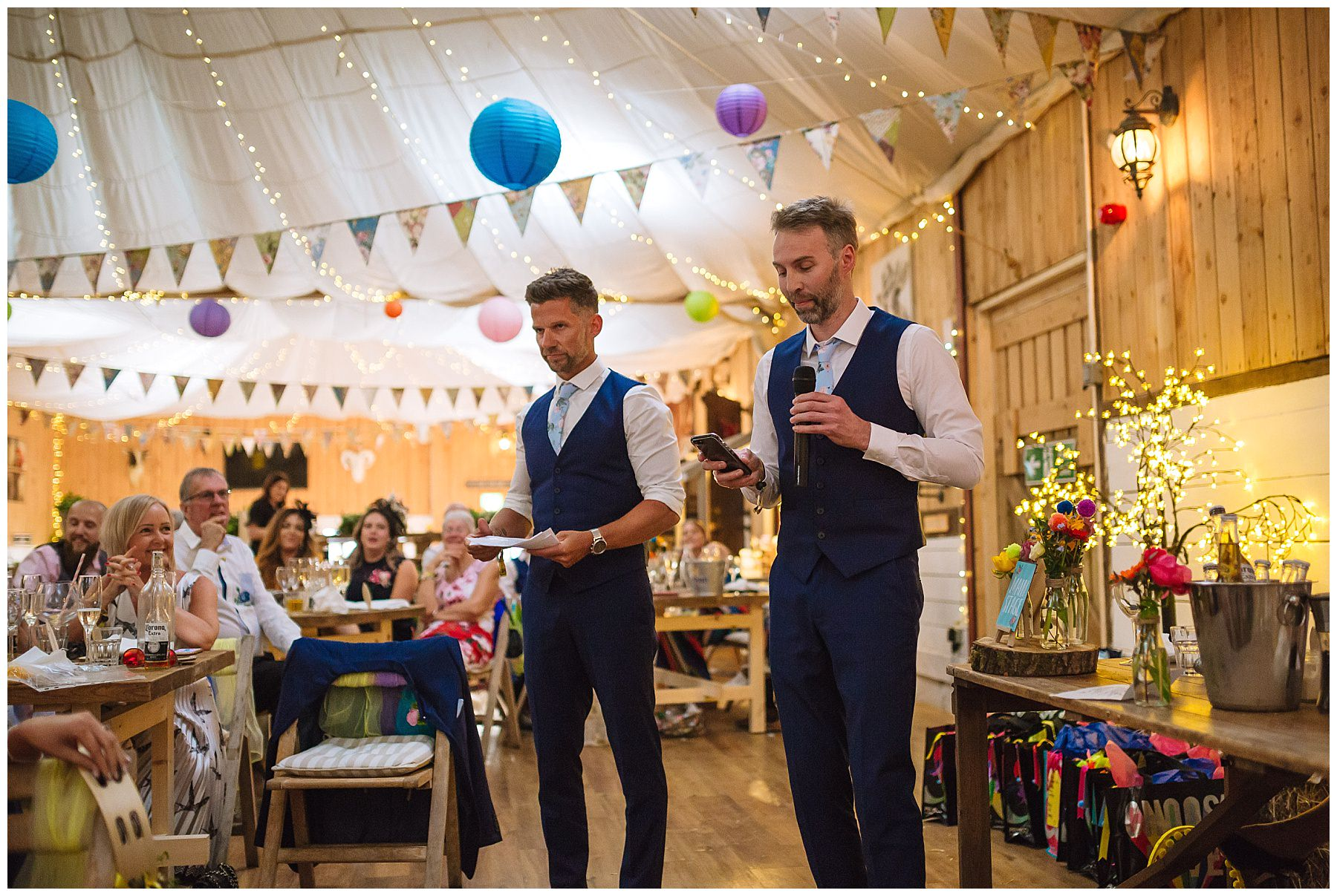 two best men give a speech at bolton farm wedding
