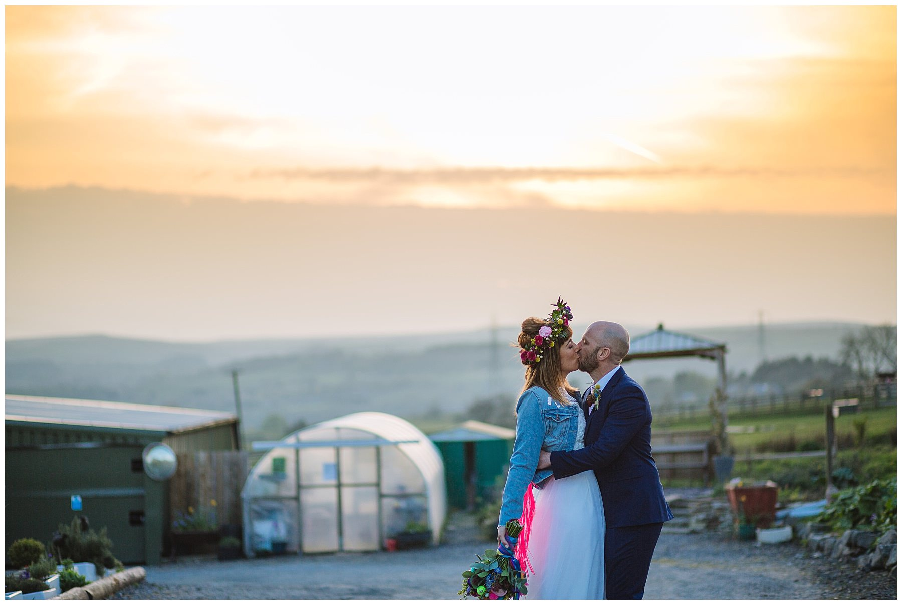 couples sunset portraits at quirky festival wedding