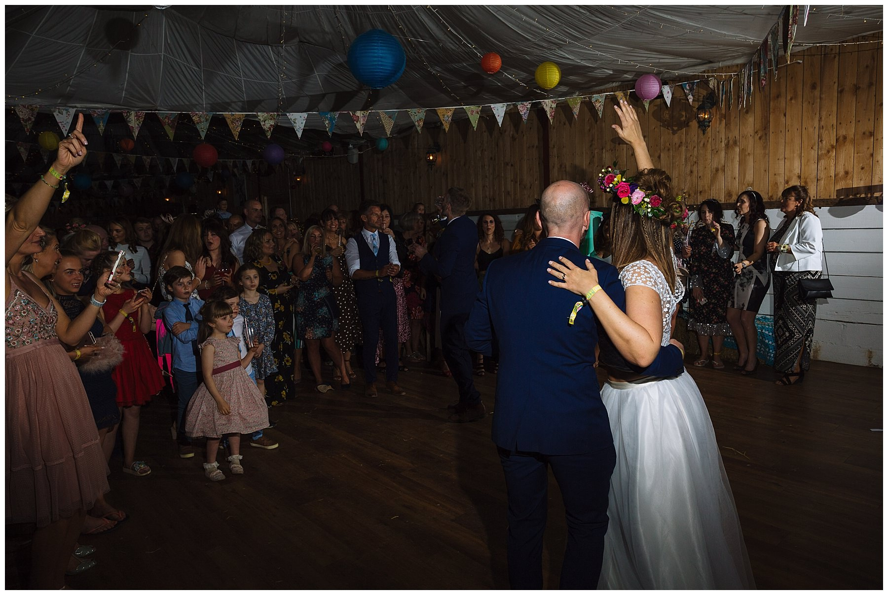First dance at festival wedding at the wellbeing farm