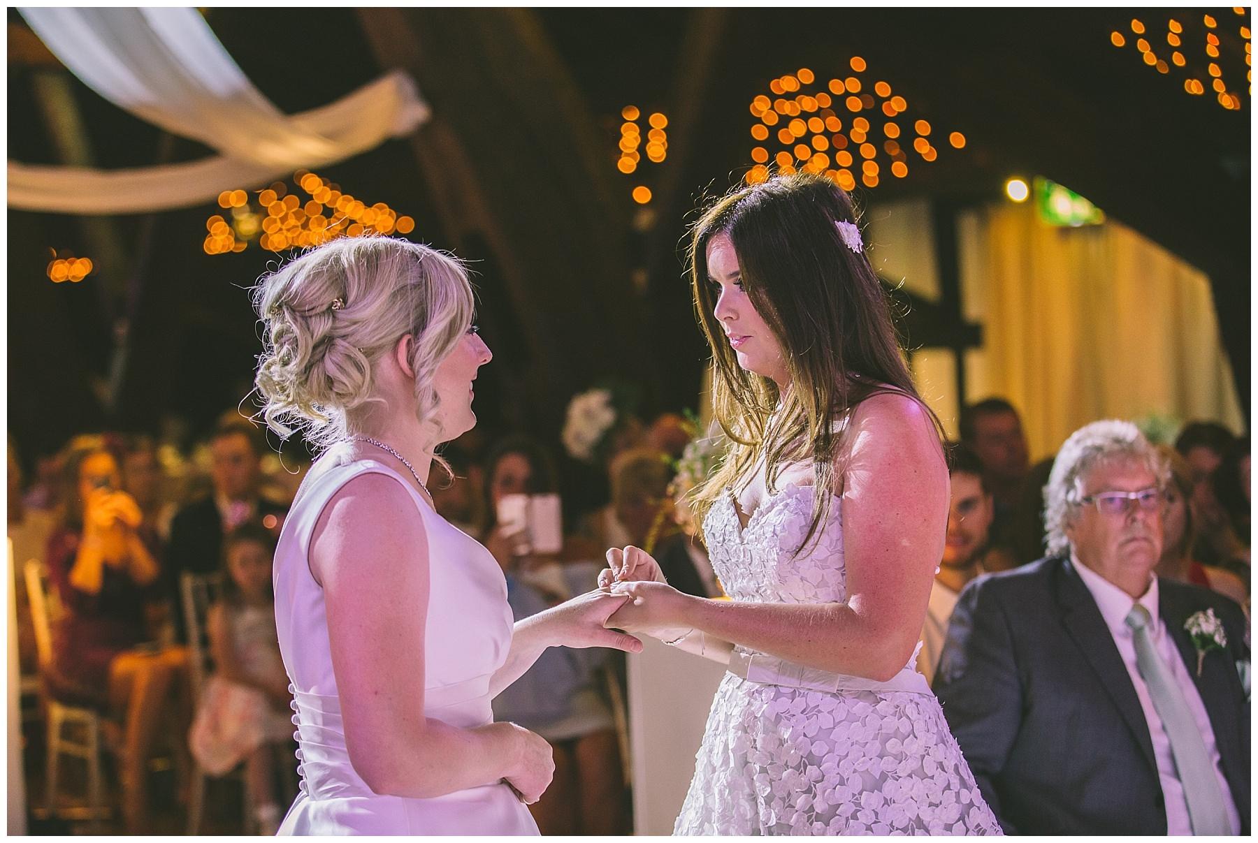 Wedding ring exchange during same sex wedding ceremony