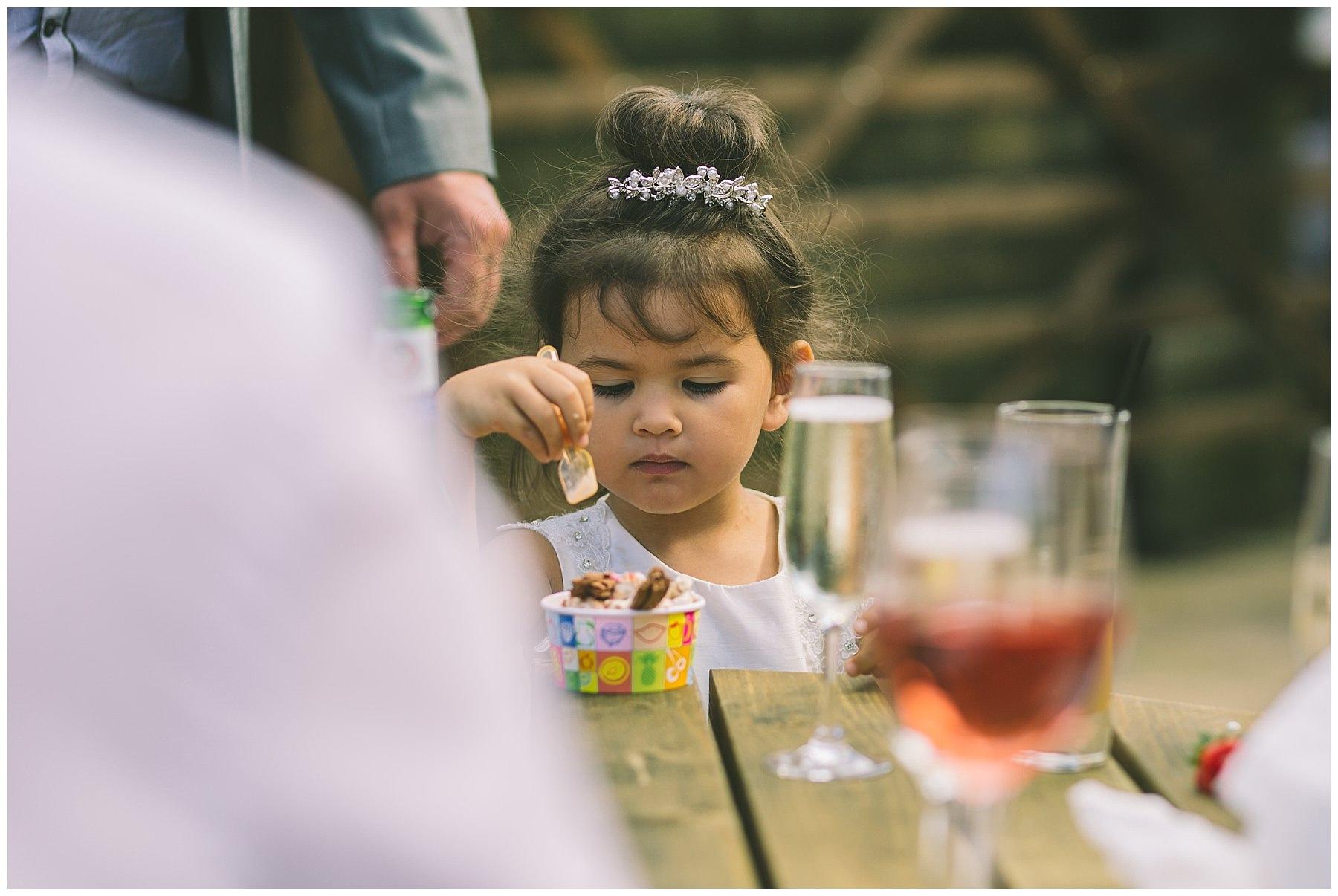 Children and ice cream at wedding