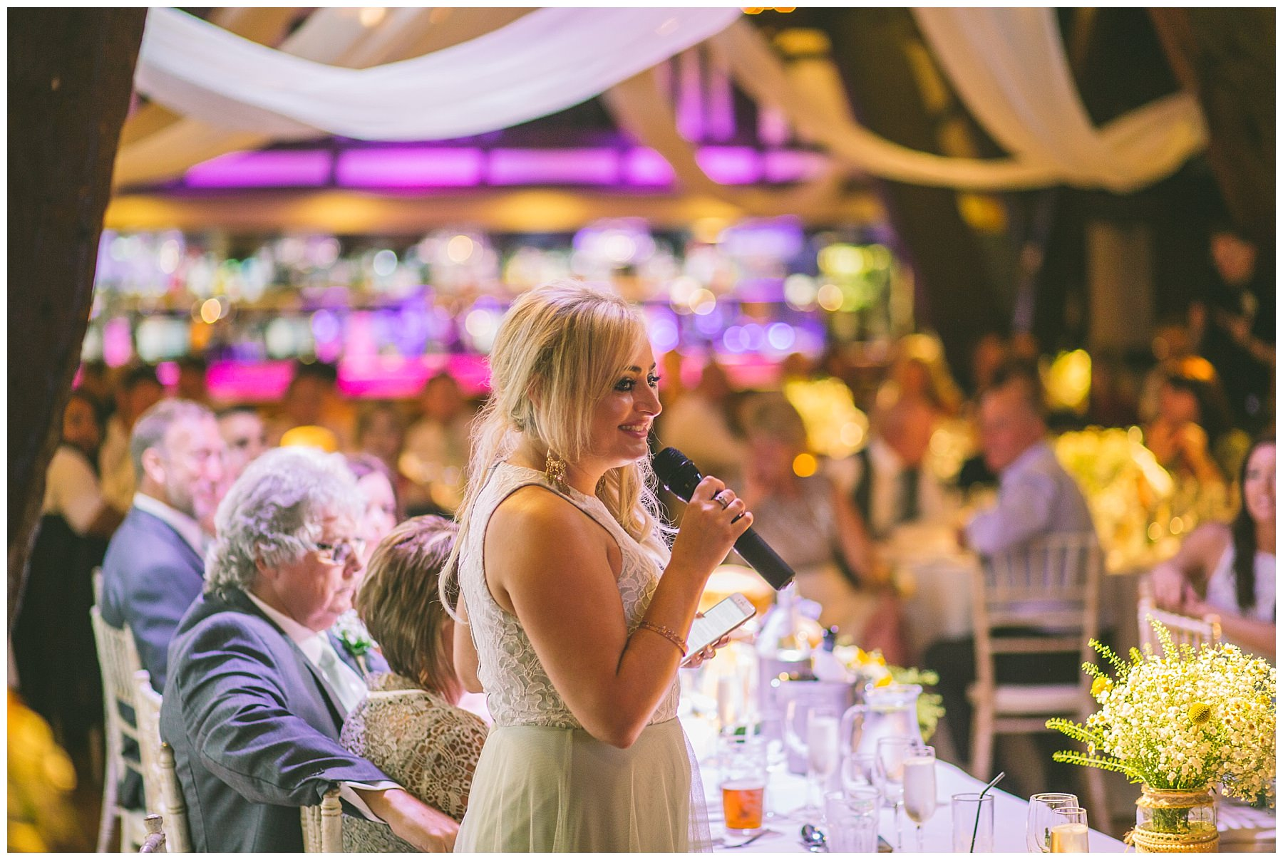 maid of honour gives speech at Rivington Barn