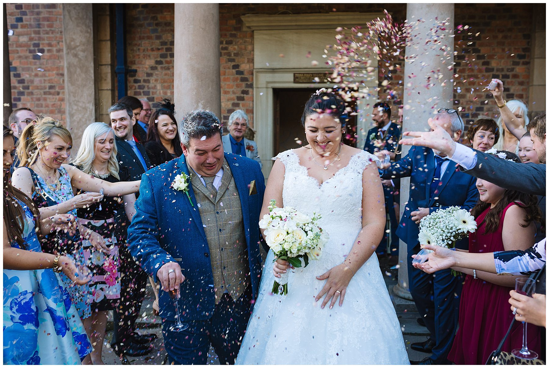Confetti shot at the front of willington hall hotel