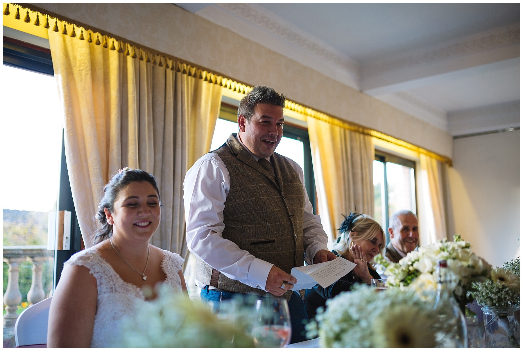 groom gives a speech at his wedding at willington hall