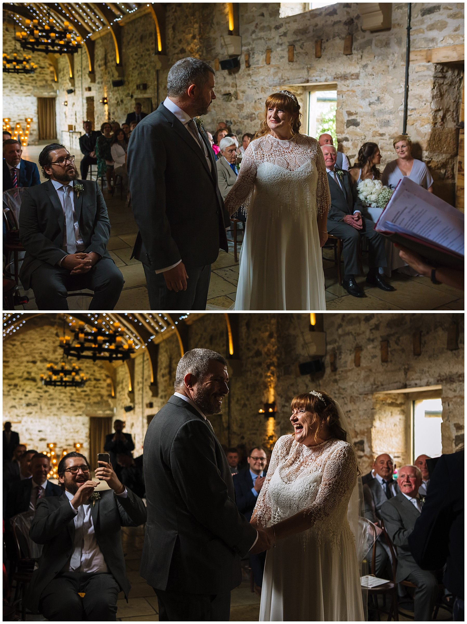 bride and groom laugh during healey barn wedding