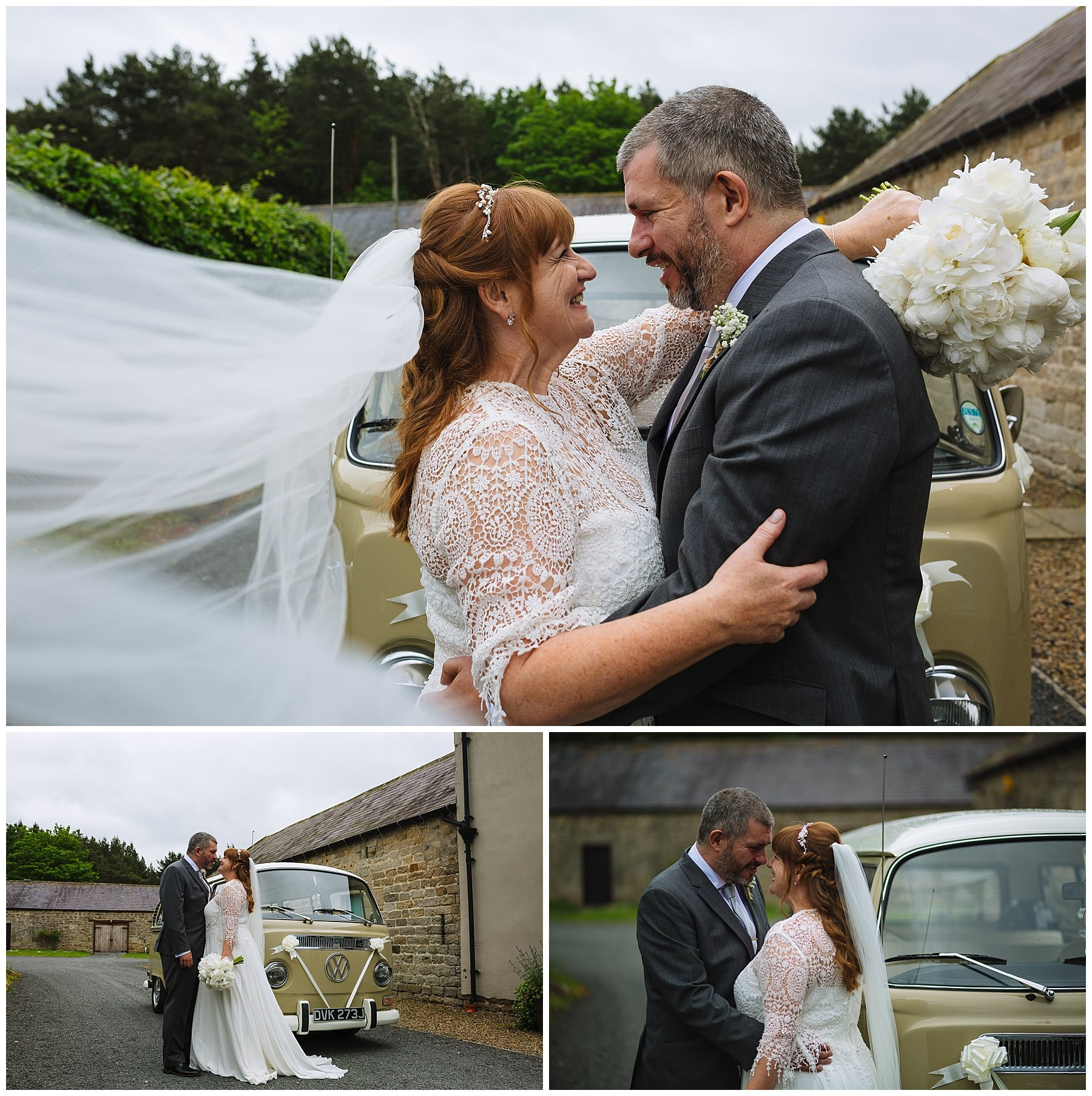 beautiful bridal portraits with retro volkswagen camper van