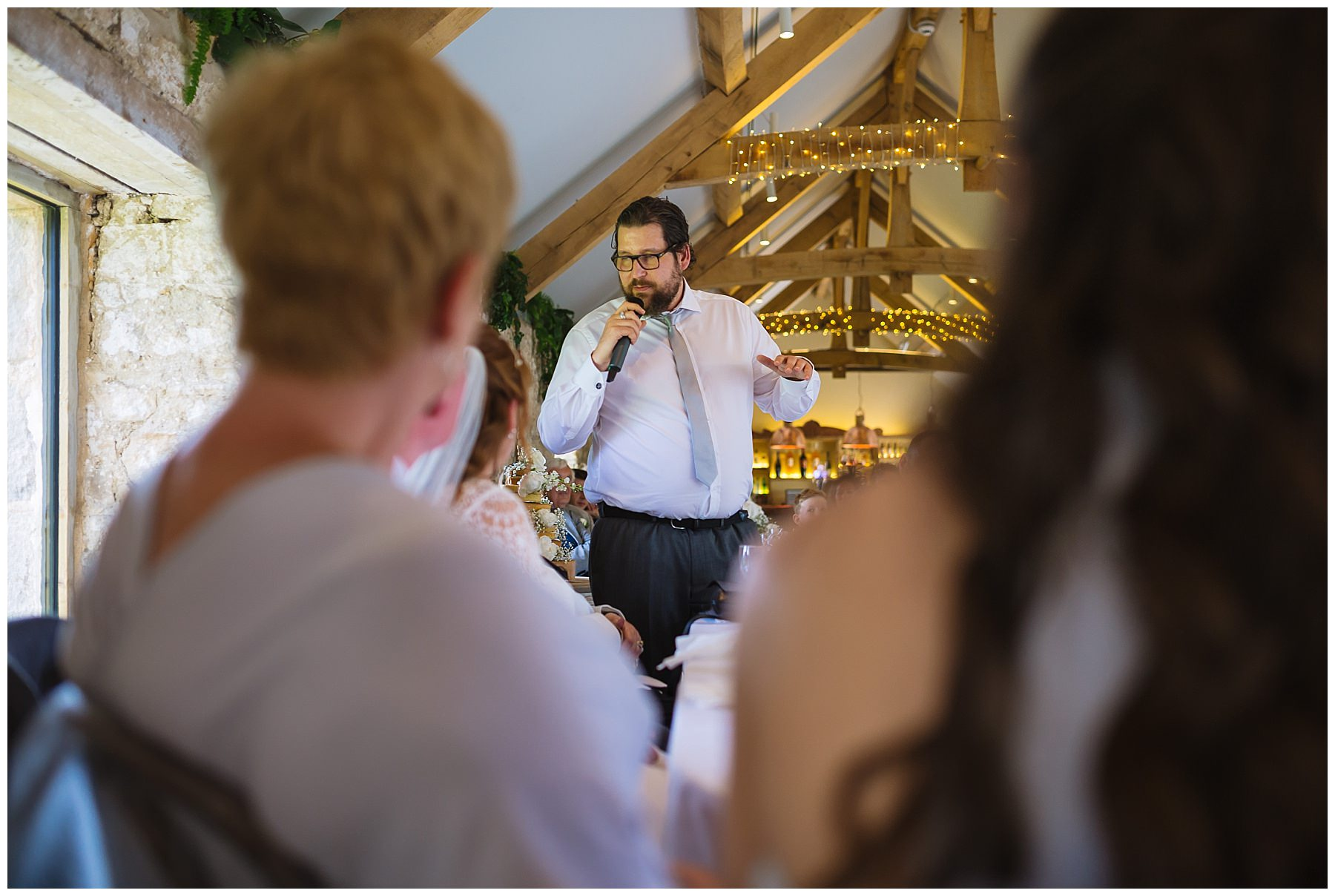 Best man during his speech at healey barn