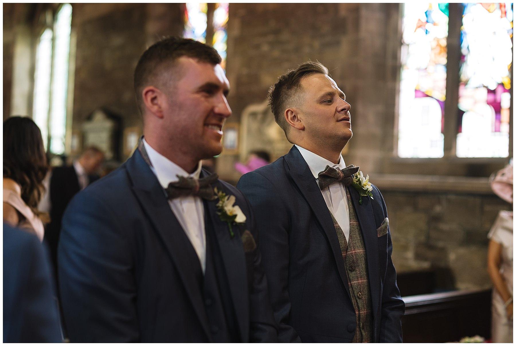 groom awaits bride nervously
