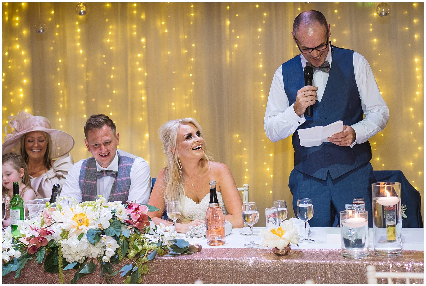 Bride looks to dad during his speech