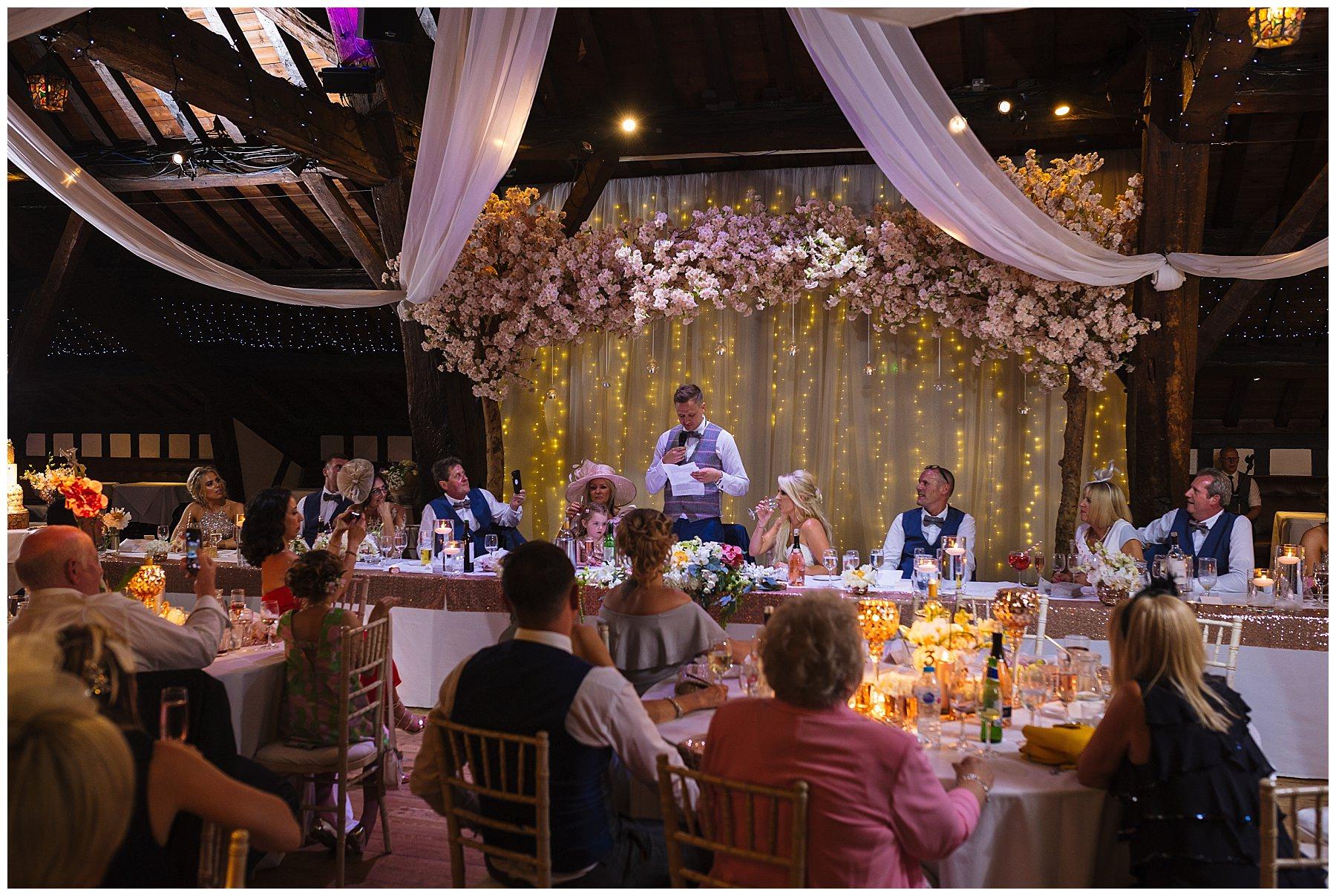 Rivingon Hall Barn Wedding during the speeches
