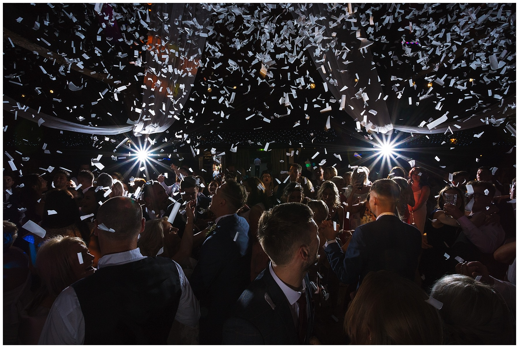 Incredible confetti canons for first dance at rivington barn