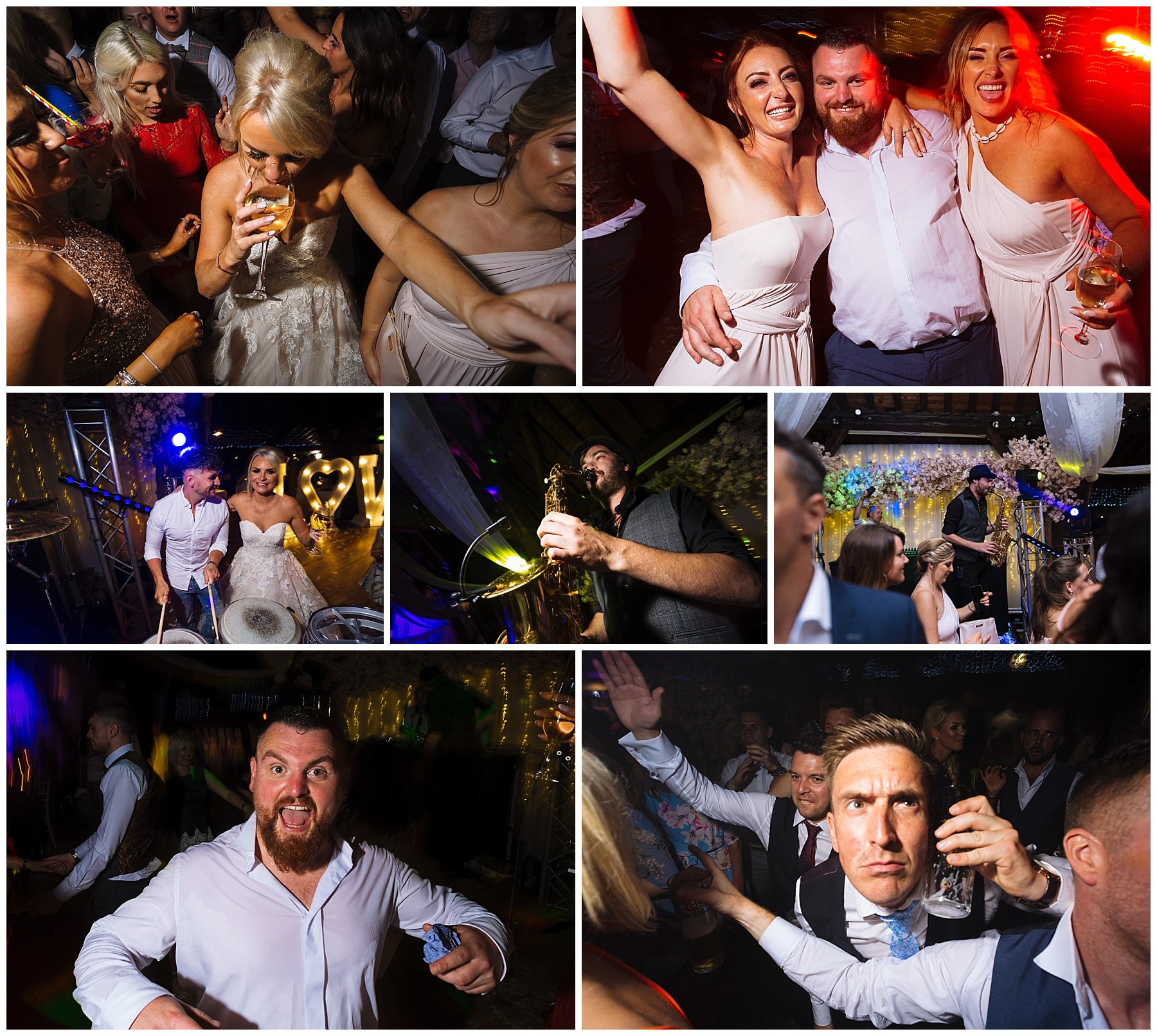 crazy dancefloor action at rivington hall barn with live percussion and sax from scene my event