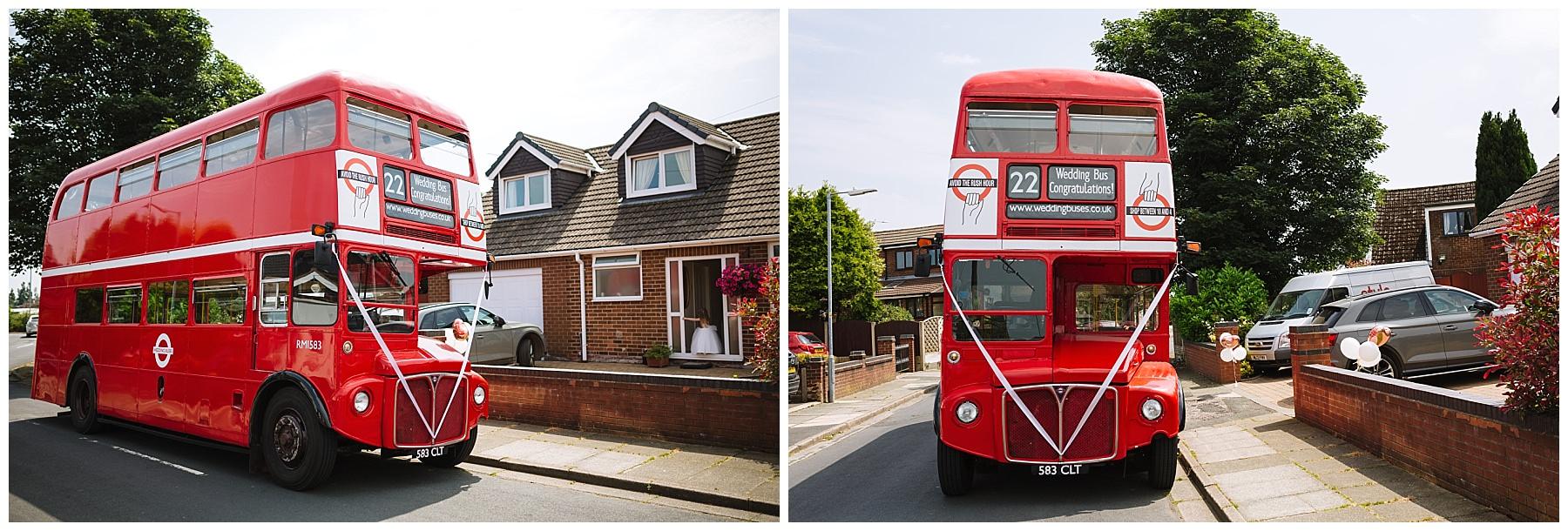 Retro red double decker bus wedding transport