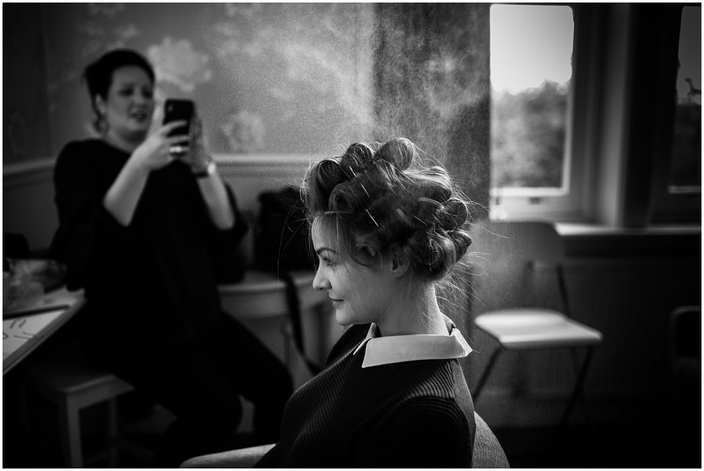 Black and White bridal prep at Ashfield House