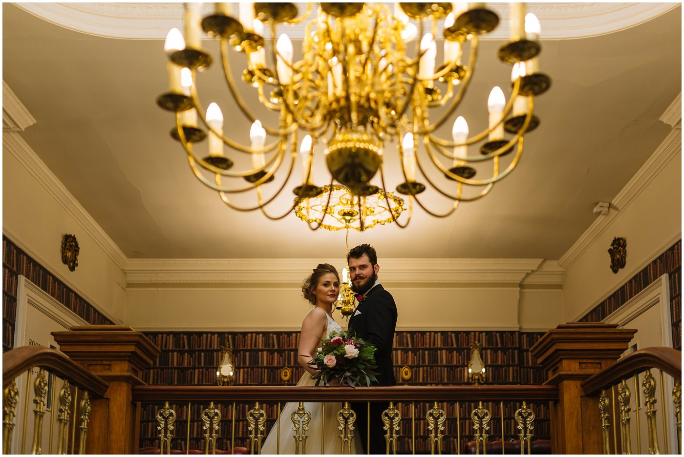 bridal portraits on the staircase at Ashfield House