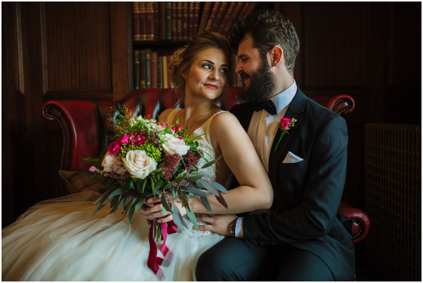 bridal portraits in the bar area at ashfield house