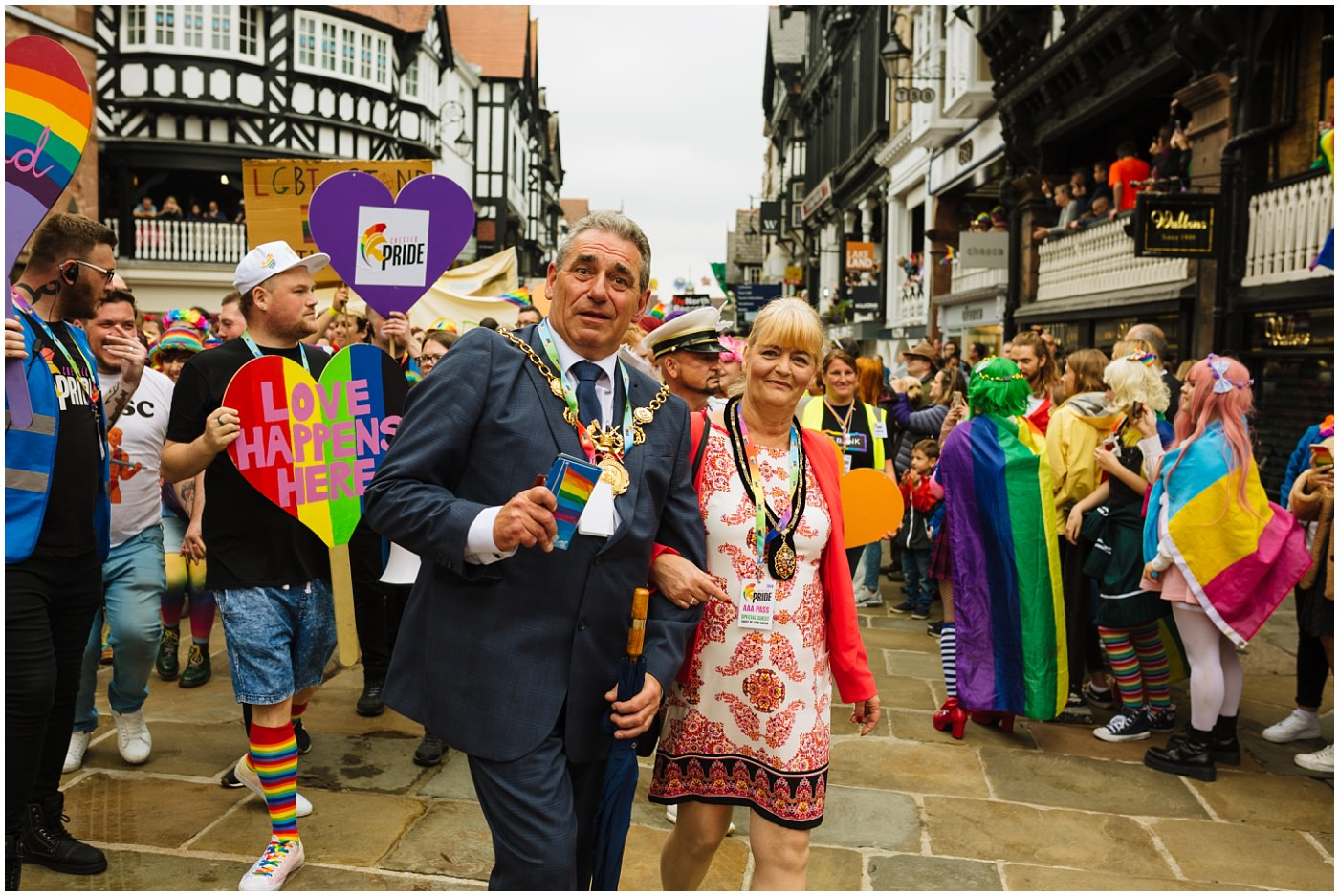 Mayor of Chester celebrates Pride 2019 and joins in the parade