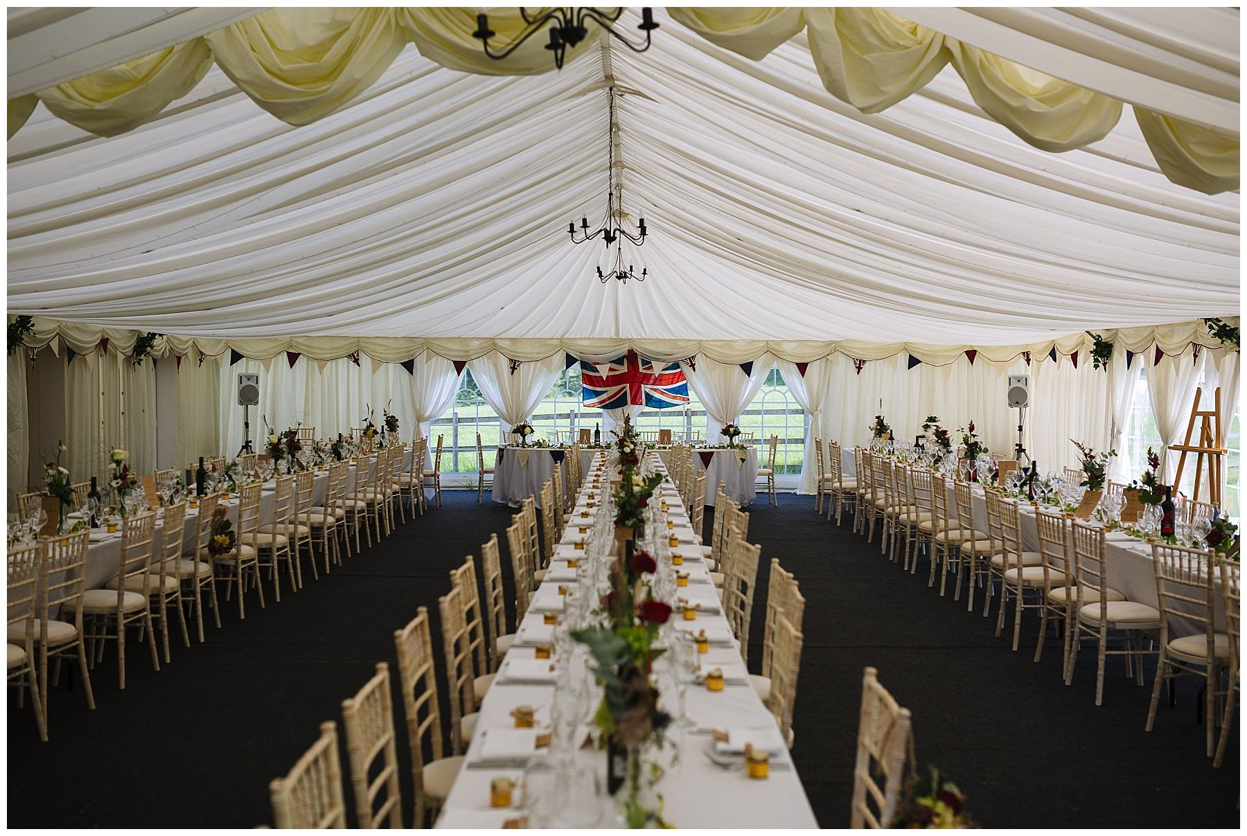 Hilltop House Marquee set out for informal wedding breakfast