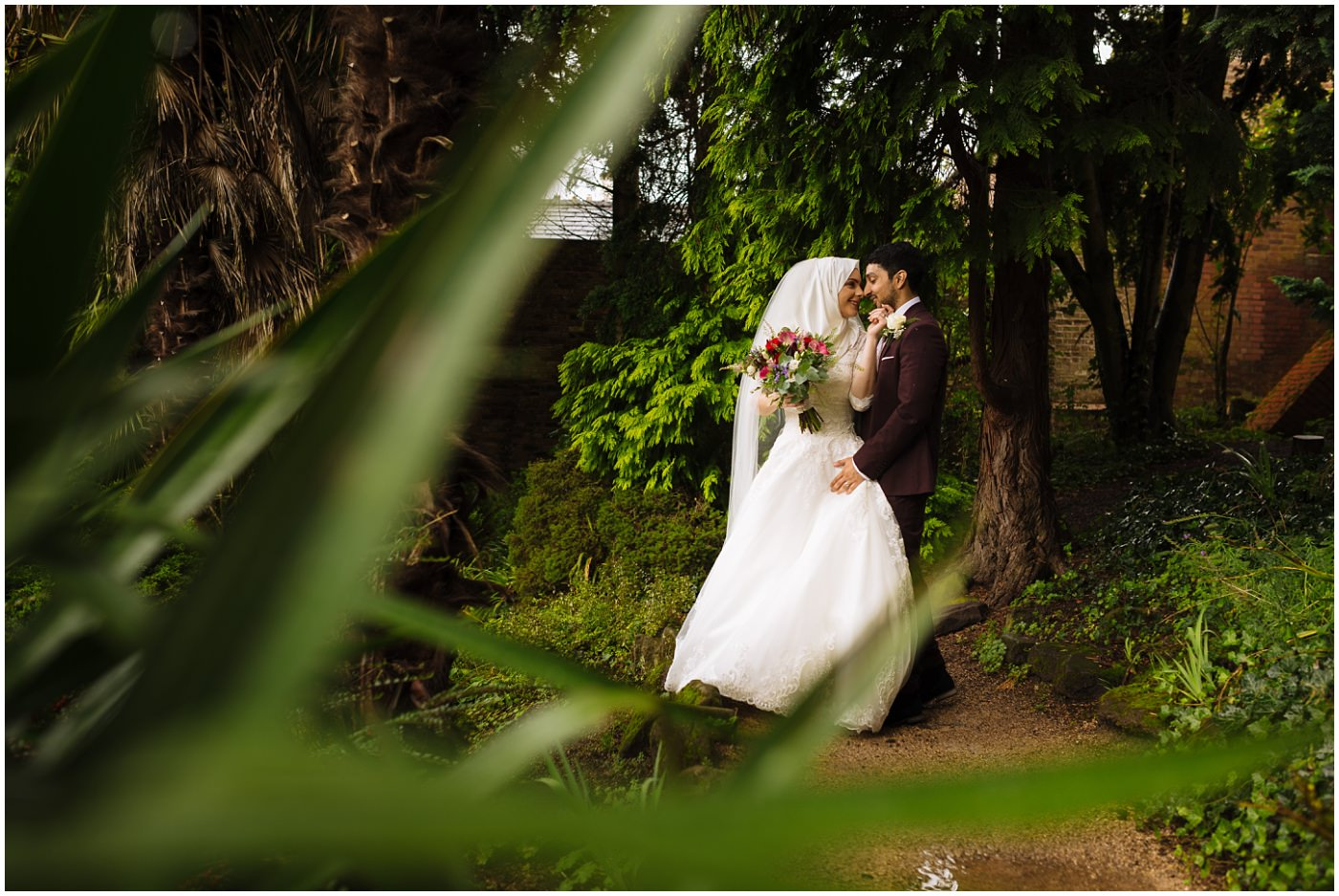bridal portraits at fletcher moss park in didsbury