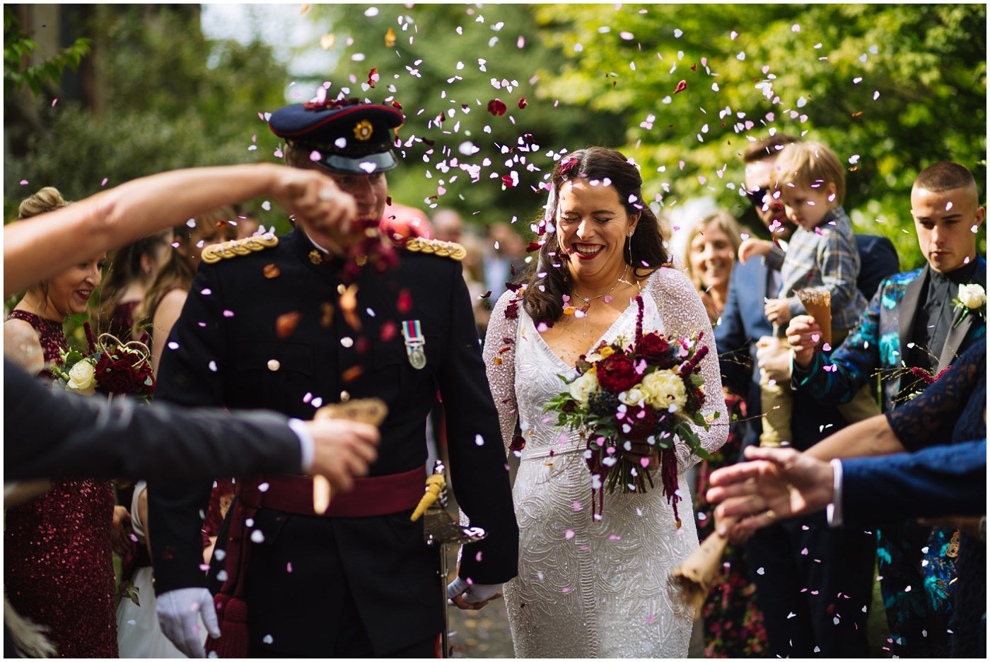 confetti shower at didsbury military wedding