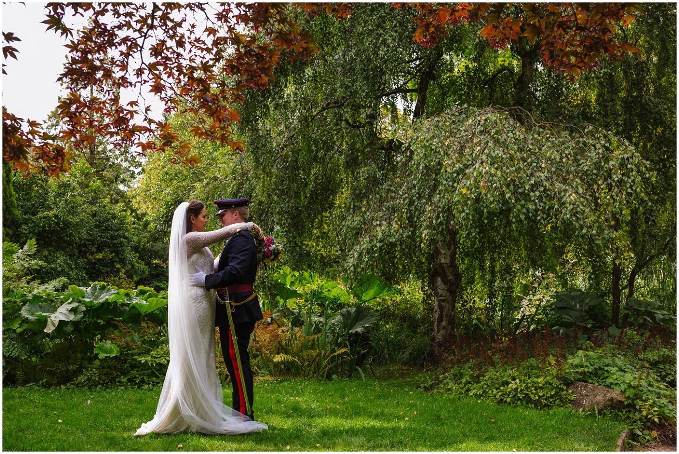 military wedding portraits at Fletcher moss gardens in didsbury