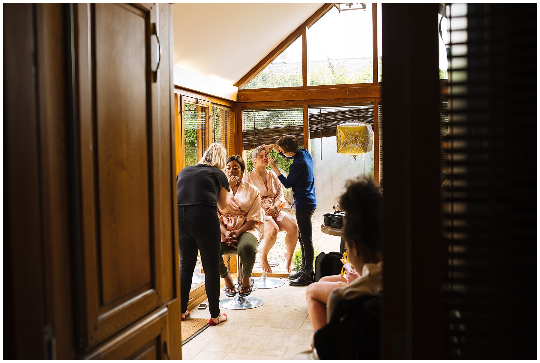 Bridal prep in the old stables at Swancar Farm