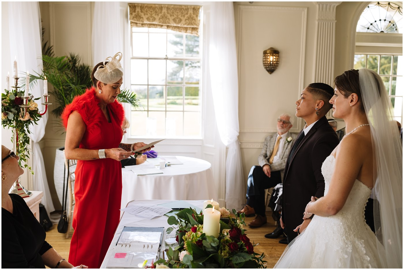 Mother of the Bride does a reading during Eaves Hall Wedding Ceremony