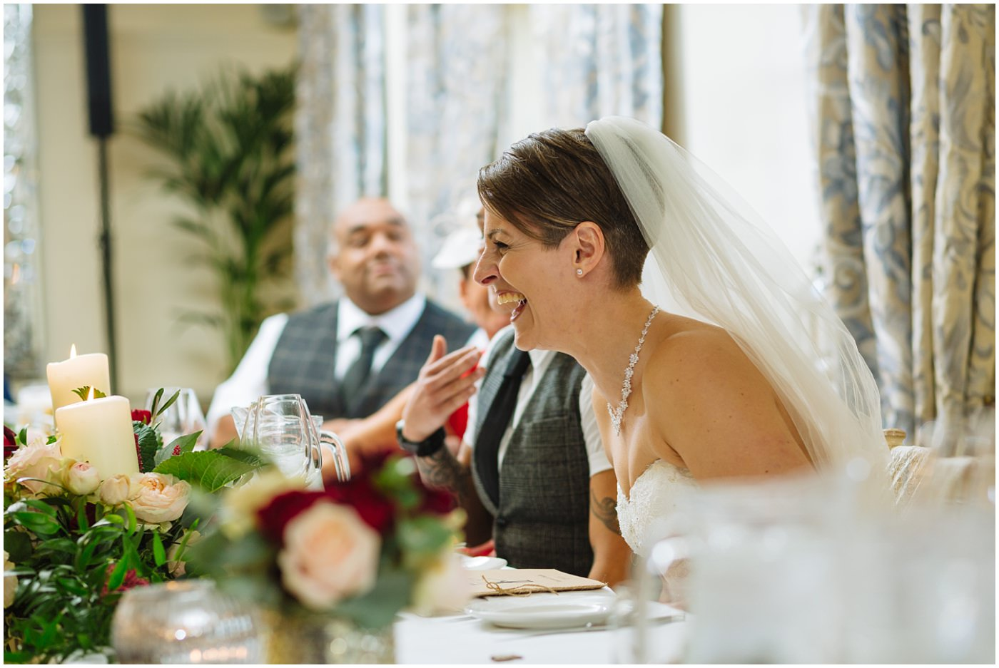 Bride react to funny wedding speeches