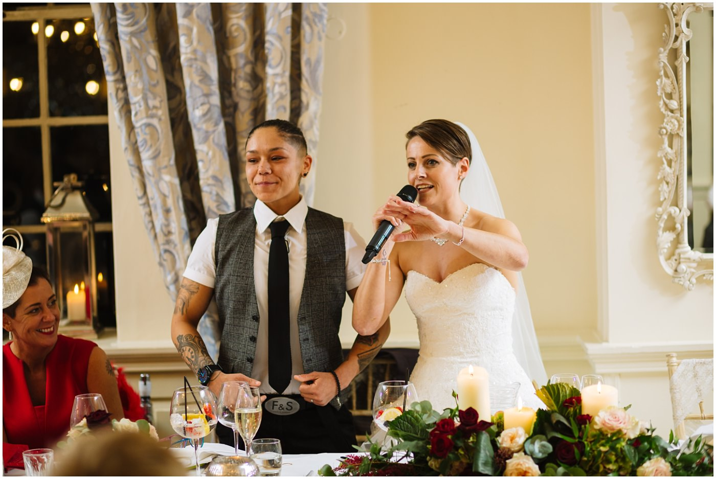 Brides speak and say thank you to family and guests