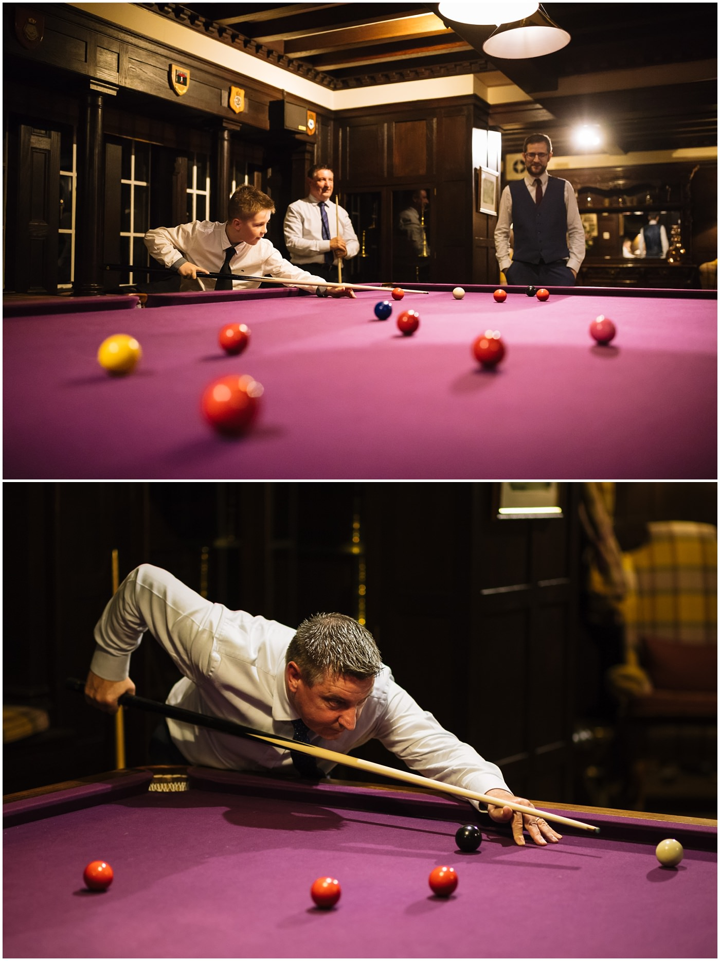 Guests in the snooker room at Eaves Hall