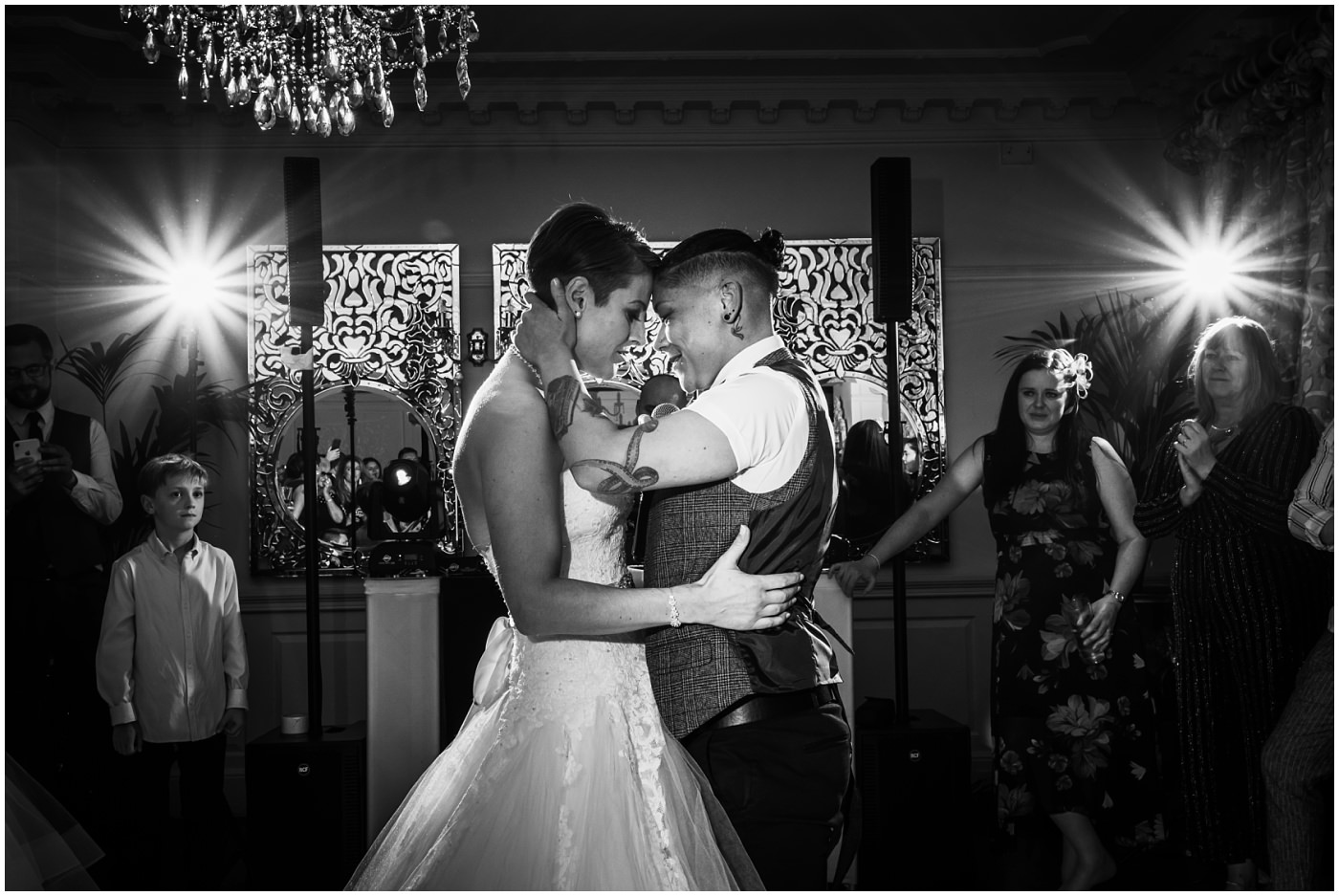 Two brides during their first dance at Eaves Hall Wedding