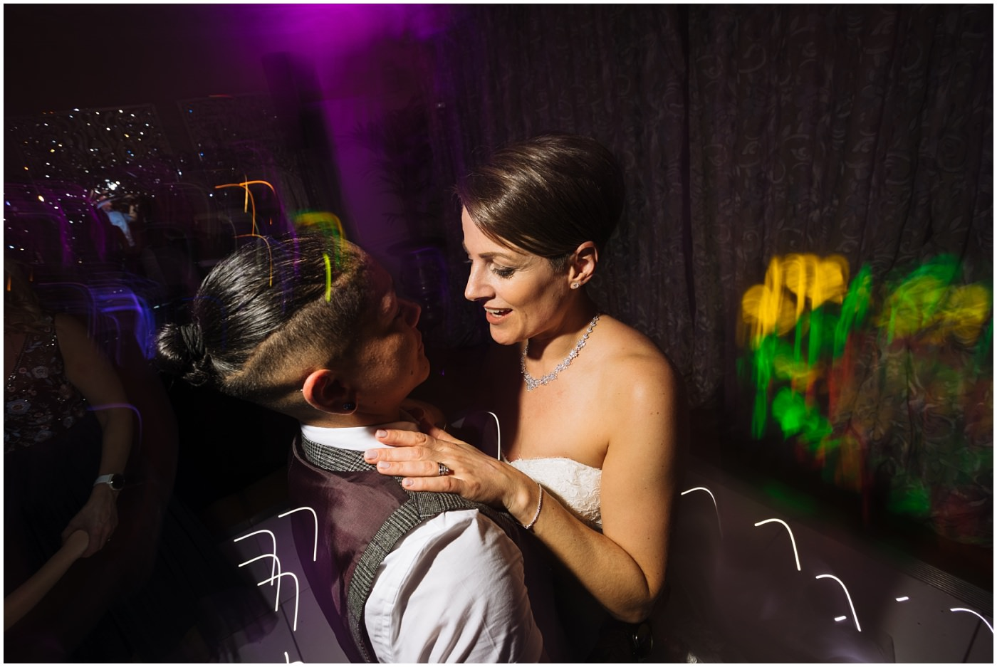 two brides on the dancefloor at eaves hall