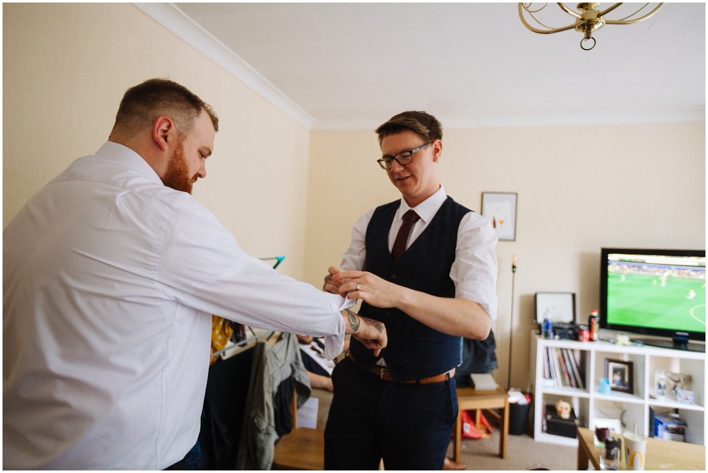 Manchester alternative wedding groom prep