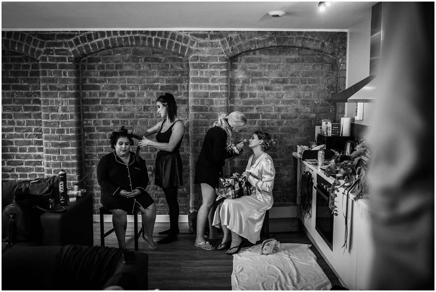 Manchester Wedding Bridal prep in black and white