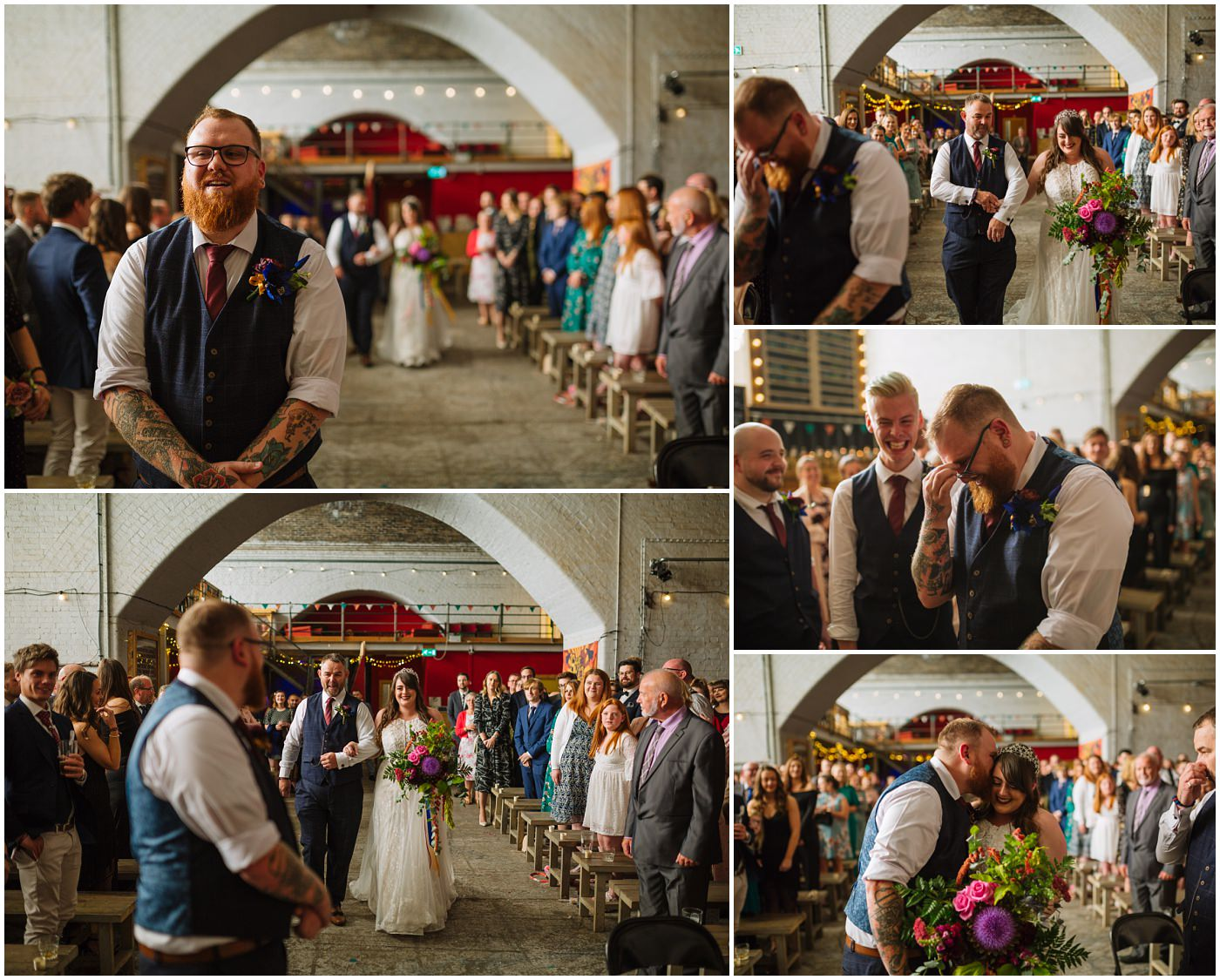 grooms emotional reaction to seeing bride for the first time at Fairfield Social Club wedding