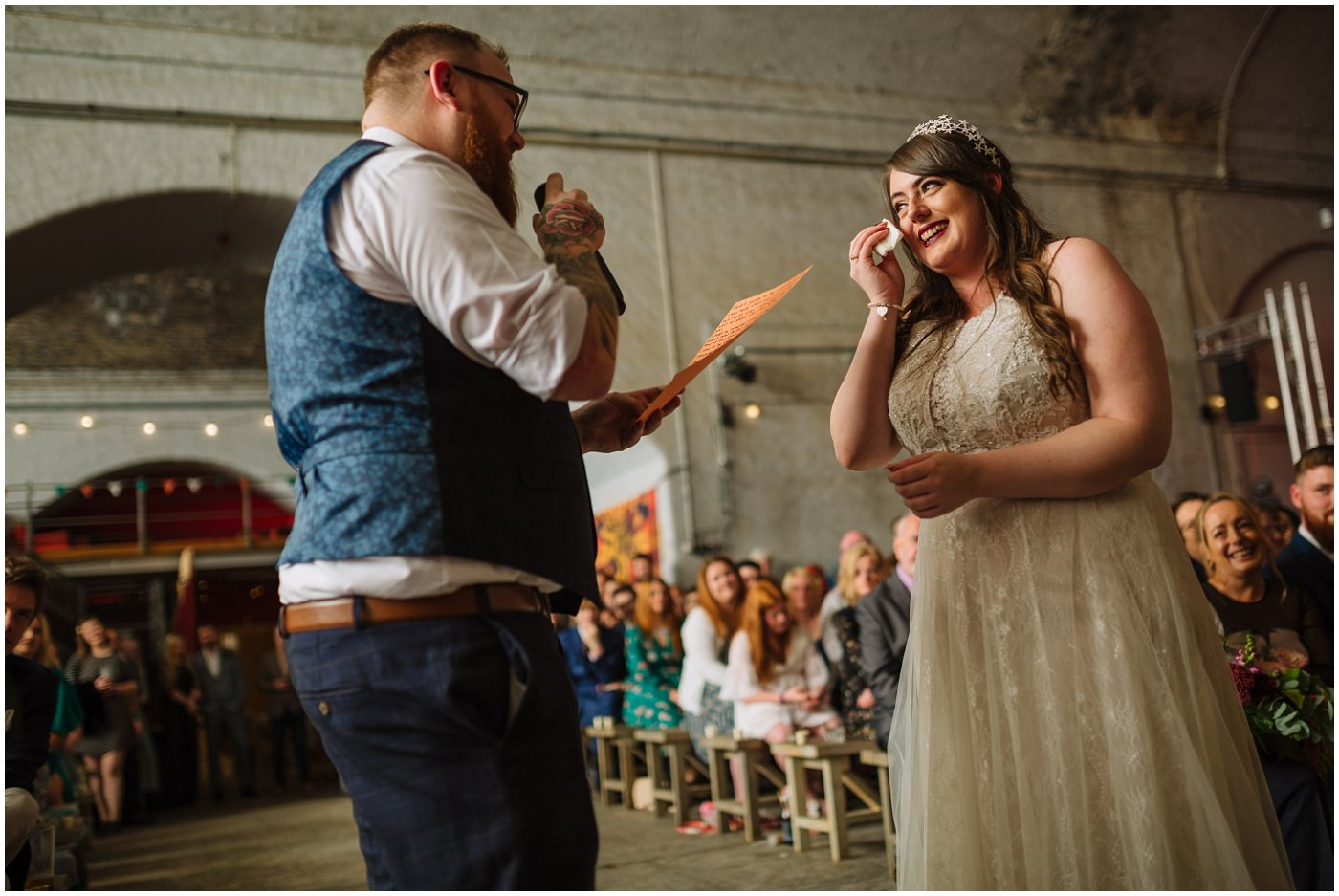 Bride and Groom exchange vows at Manchester Urban Wedding