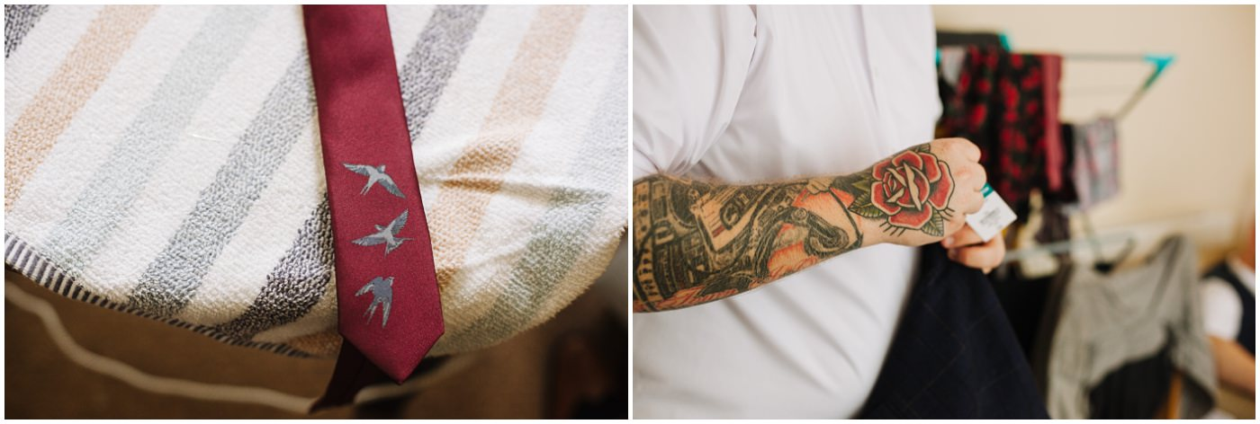 groom wedding details and tattoos