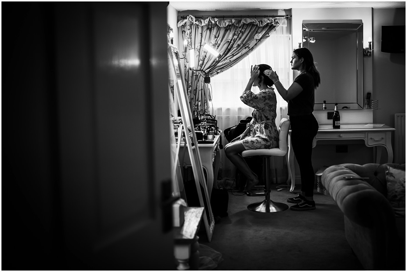 black and white photograph of bridal prep at sandhole oak barn