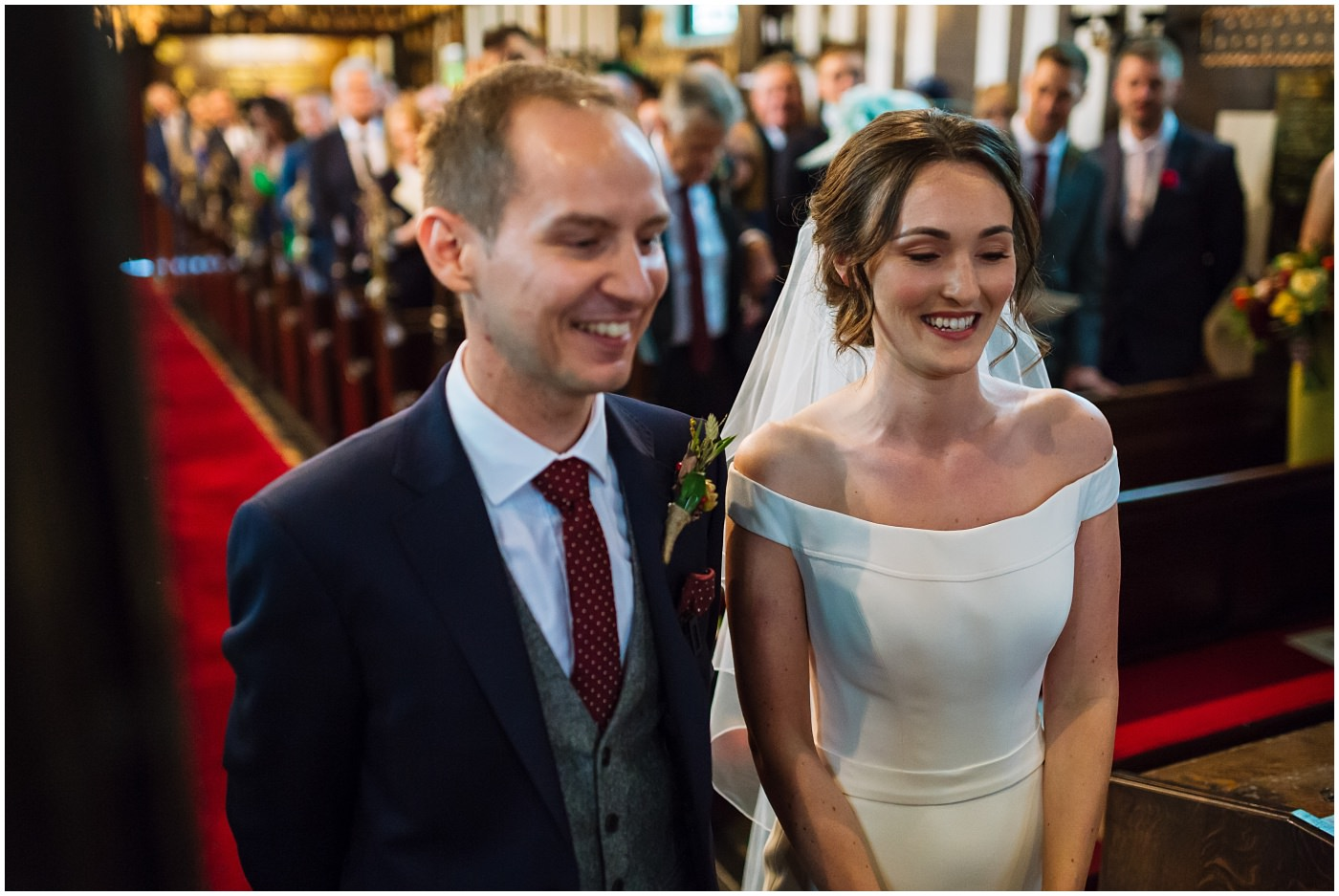 bride and groom in cheshire church wedding