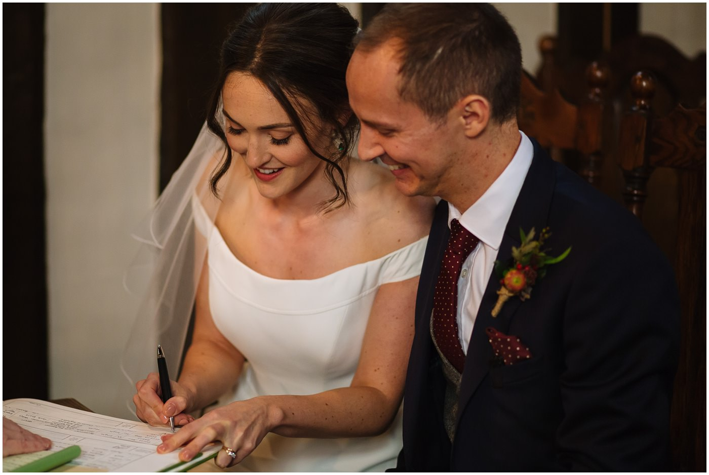 signing of the register at cheshire wedding